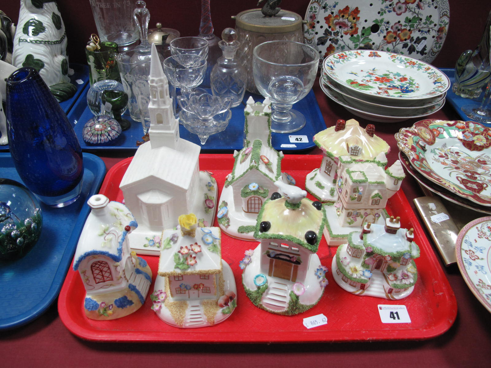 Lot 41 - Eight Various Coalport China Buildings, including 'The Village Church', 'The American Church' (