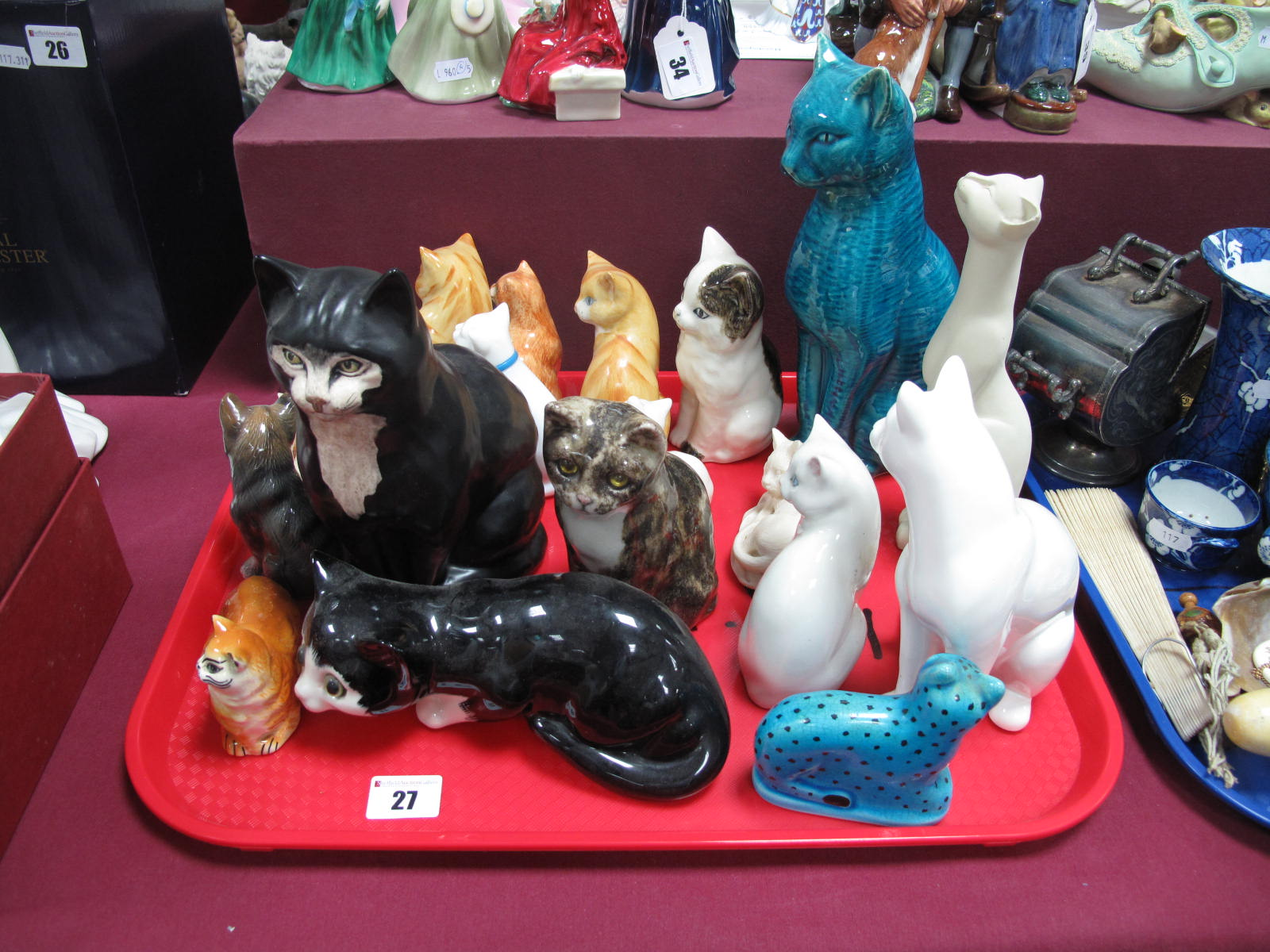 Lot 27 - Winstanley, Doulton, Leonardo and Other (Mainly) Pottery Cats:- One Tray