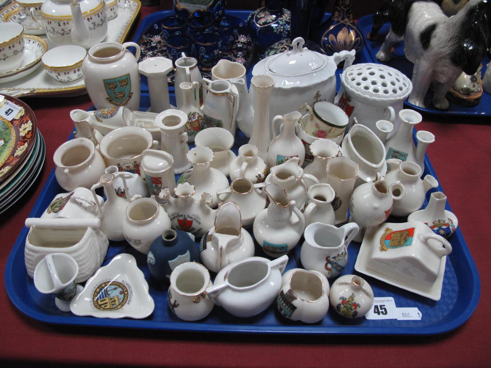 Lot 45 - A Goss Pitcher, Southport teapot, Goss Jersey fish basket, Carlton cauldron, Wedgwood Wellington