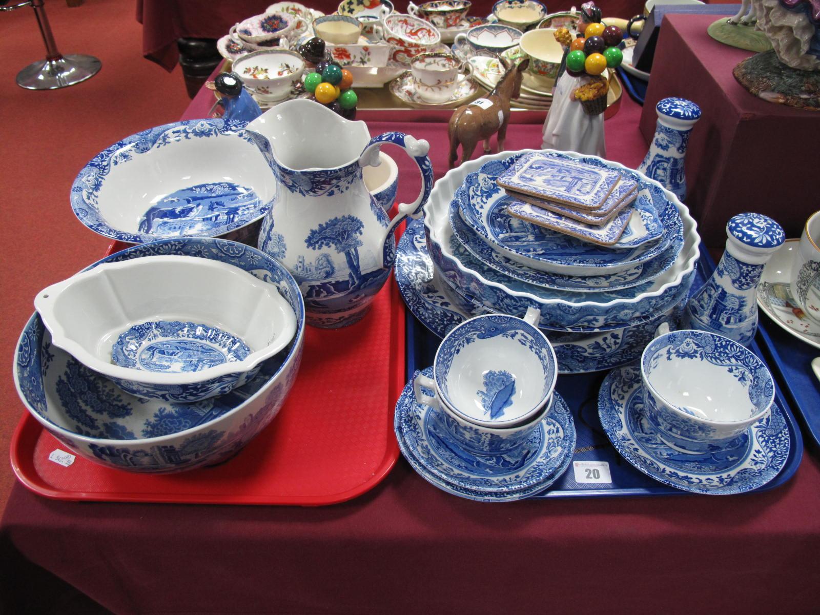 Lot 20 - Copeland Italian Spode Black Stamp Bowls, jug, salt and pepper pots, flan dish, plates, mortar and