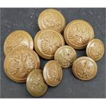 WWII Military 10 Assorted Free Polish Economy Issue Army Buttons