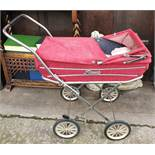 Vintage Royale Red Dolls Pram c1960's