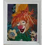 Art Framed Vintage Embroidered Collage Clown Picture Monica Woodhouse 1975