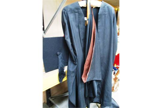Ede and Ravenscroft teachers black gown, mortar board, hat and cane