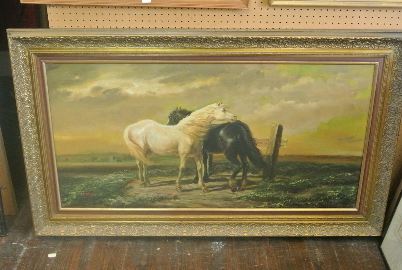 Lot 583 - An oil painting on canvas in the 19th century manner showing a pair of horses in a landscape