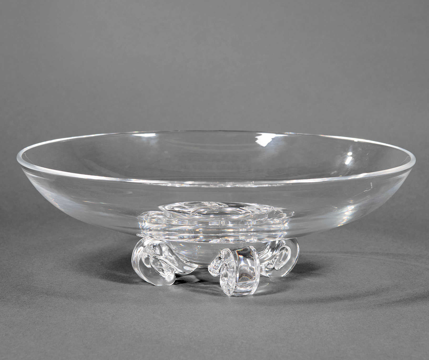 "Lot 987 - Large Steuben Glass ""Low Footed"" Bowl , etched mark, model #7909, designed 1942 by John Dreves,"