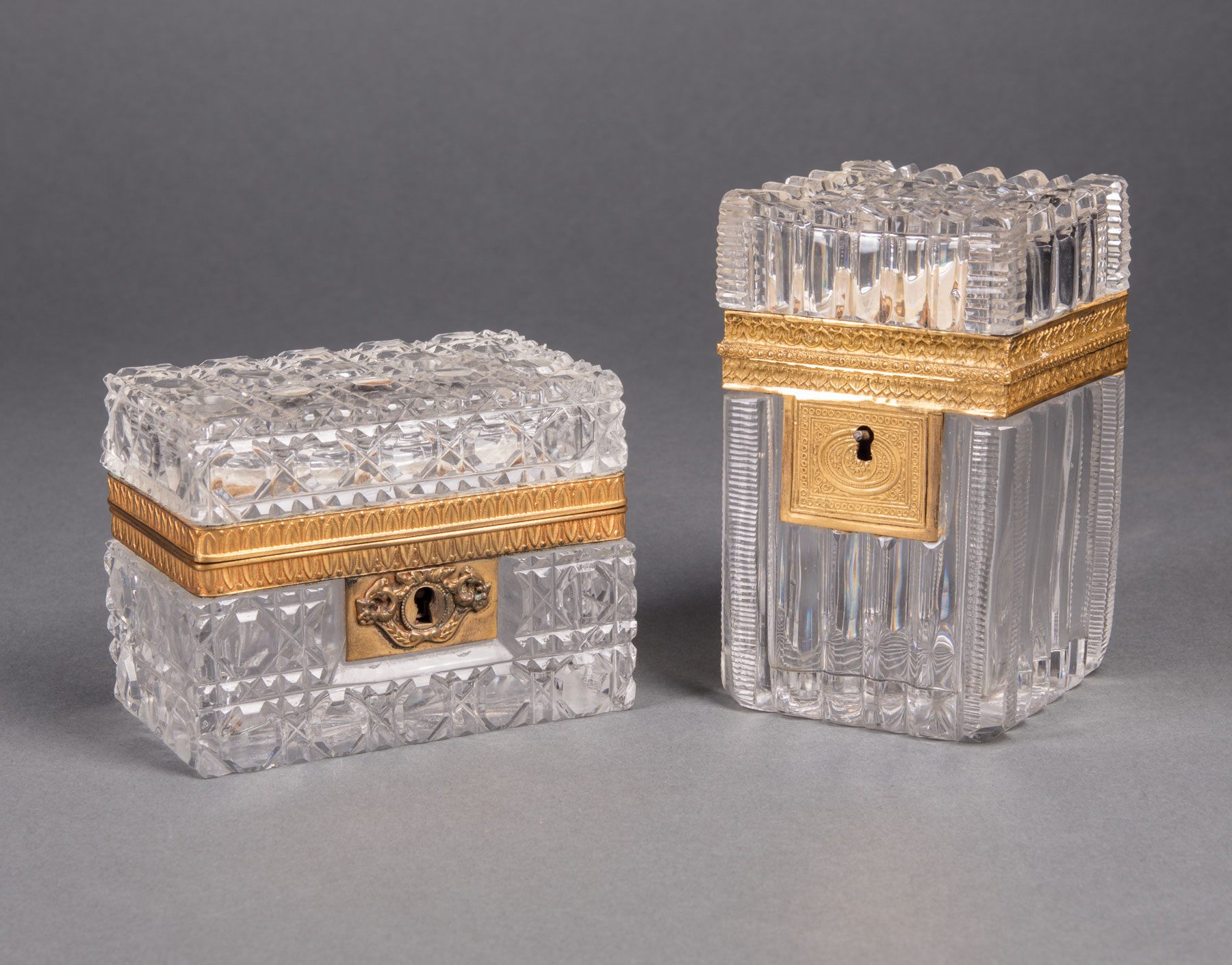 Lot 726 - Two Antique French Bronze-Mounted Cut Crystal Boxes , 19th c., taller h. 4 1/2 in., w. 2 3/4 in., d.