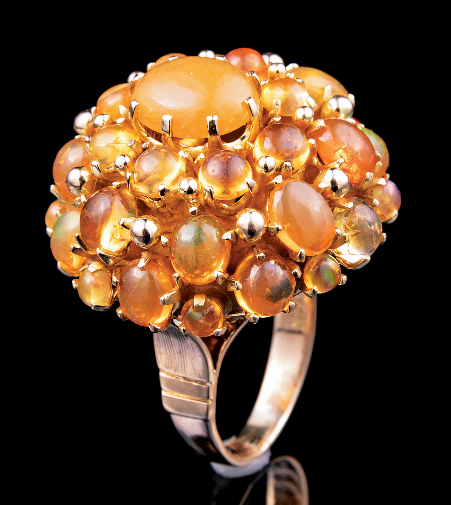 Lot 626 - 14 kt. Yellow Gold and Opal Cluster Ring , size 6.5