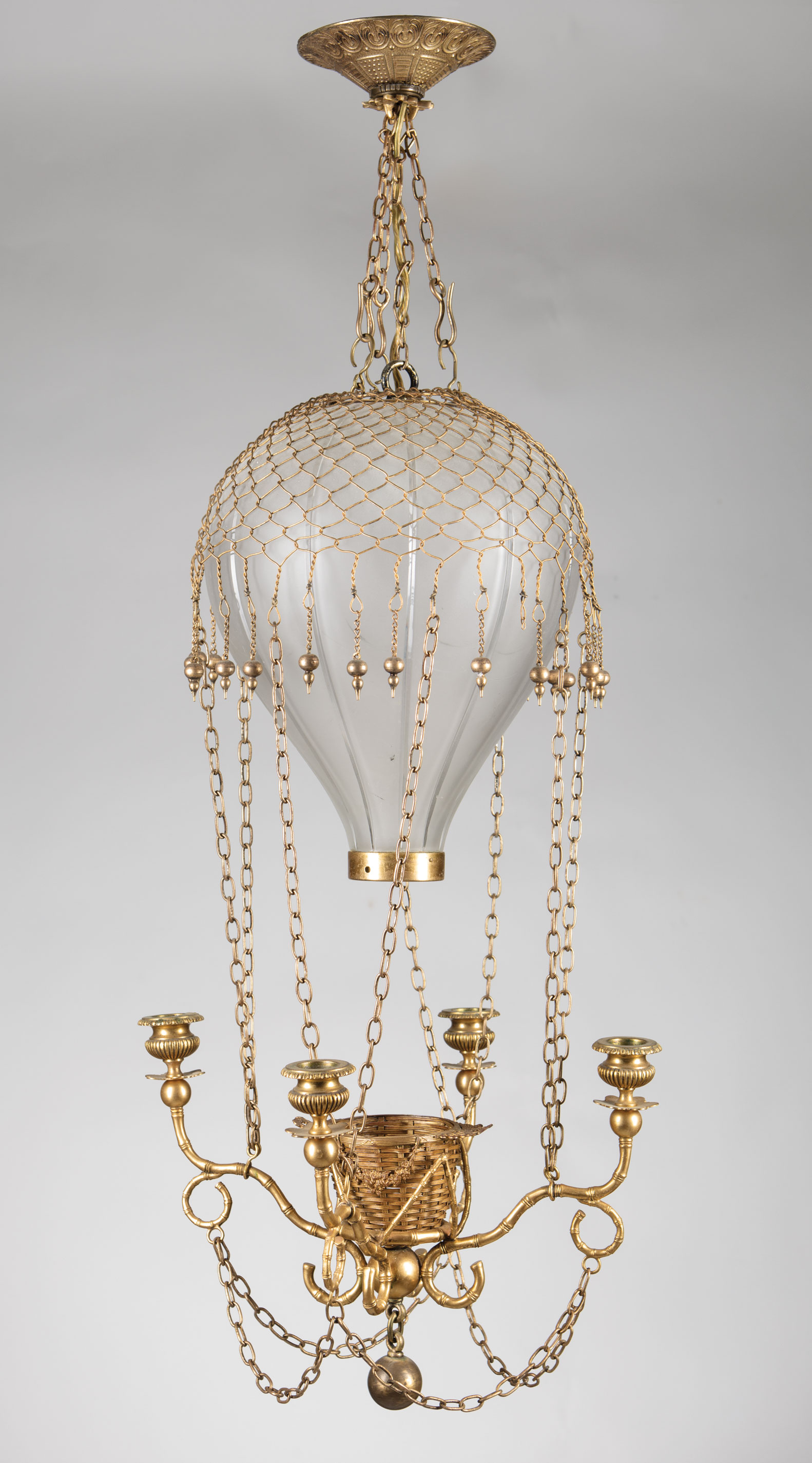 "Lot 263 - French Gilt Bronze and Etched Glass ""Montgolfier"" Hall Lamp , c. 1900, hot-air balloon shade,"