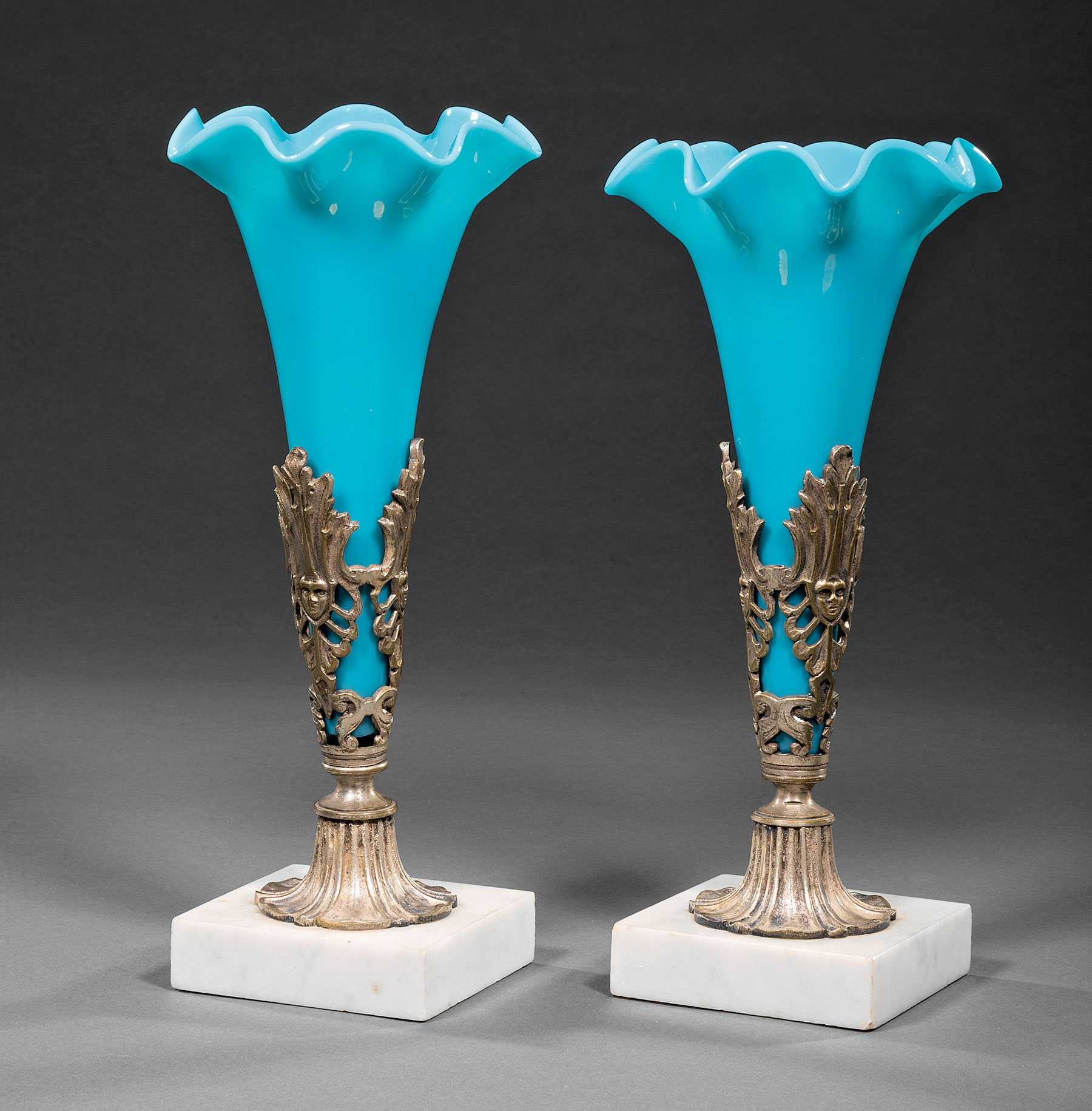 Lot 653 - Pair of Victorian Silvered Metal, Marble and Blue Opaline Glass Trumpet Vases , mid-19th c., h. 11