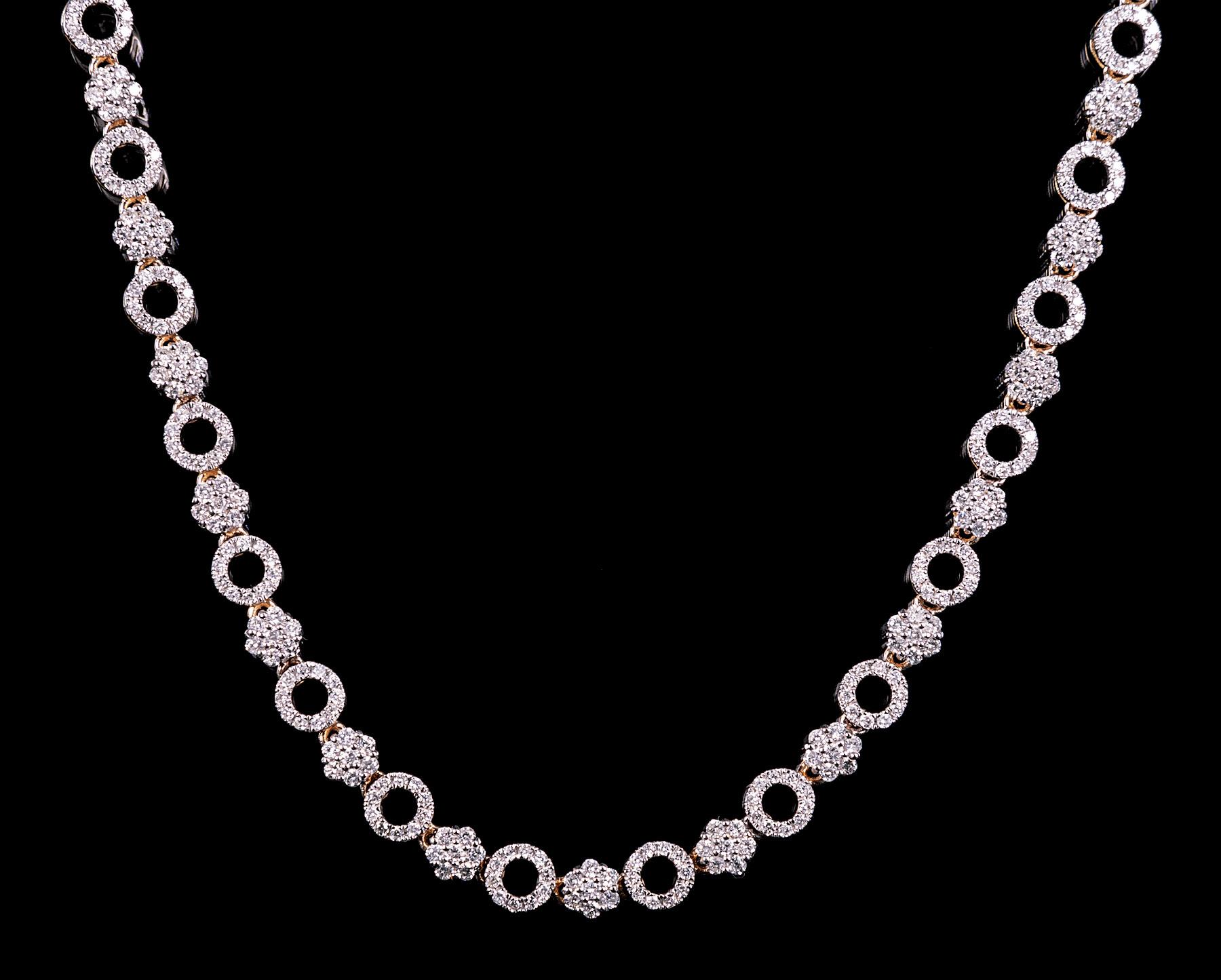 Lot 603 - 14 kt. White Gold and Diamond Necklace , 663 prong set round brilliant cut diamonds, est. depth 1.40