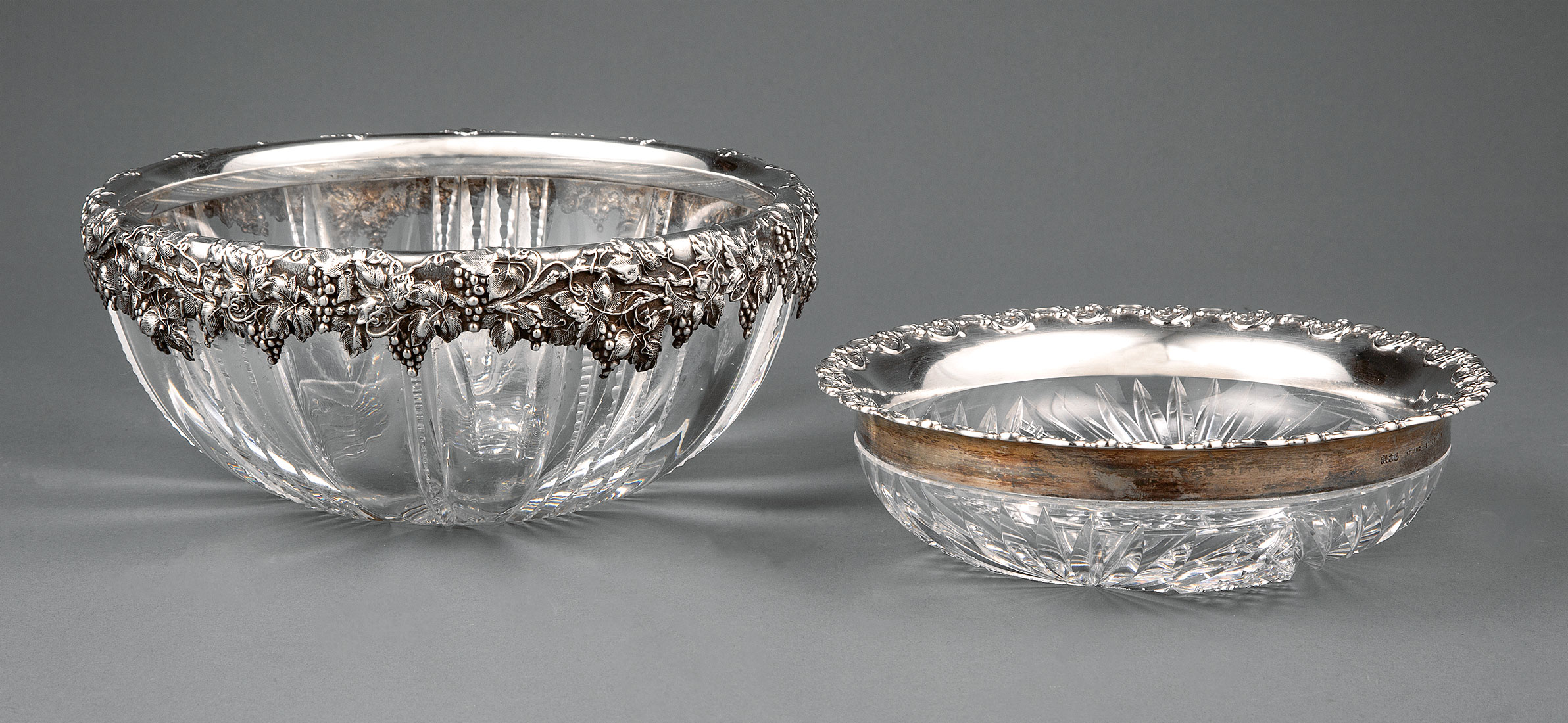 Lot 236 - Two American Brilliant Cut Glass Bowls with Gorham Sterling Silver Mounts , c. 1900, incl. example