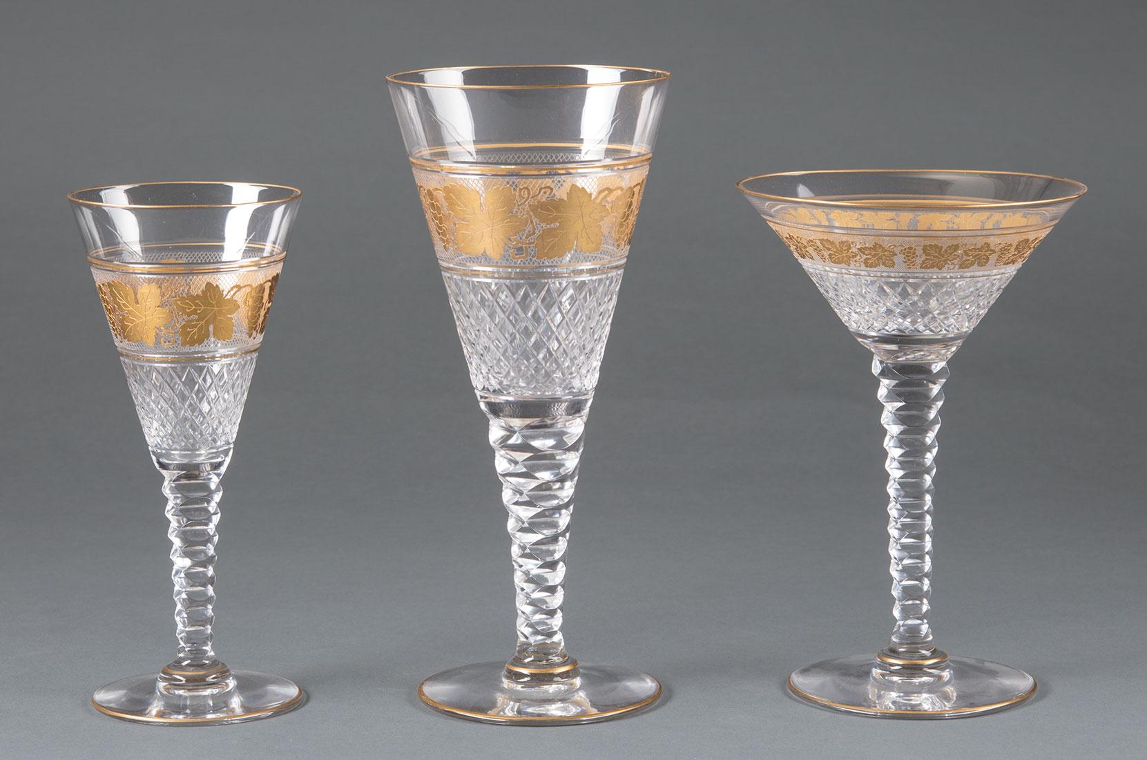 Lot 986 - French St. Louis-Style Gilt Cut-Glass Stemware