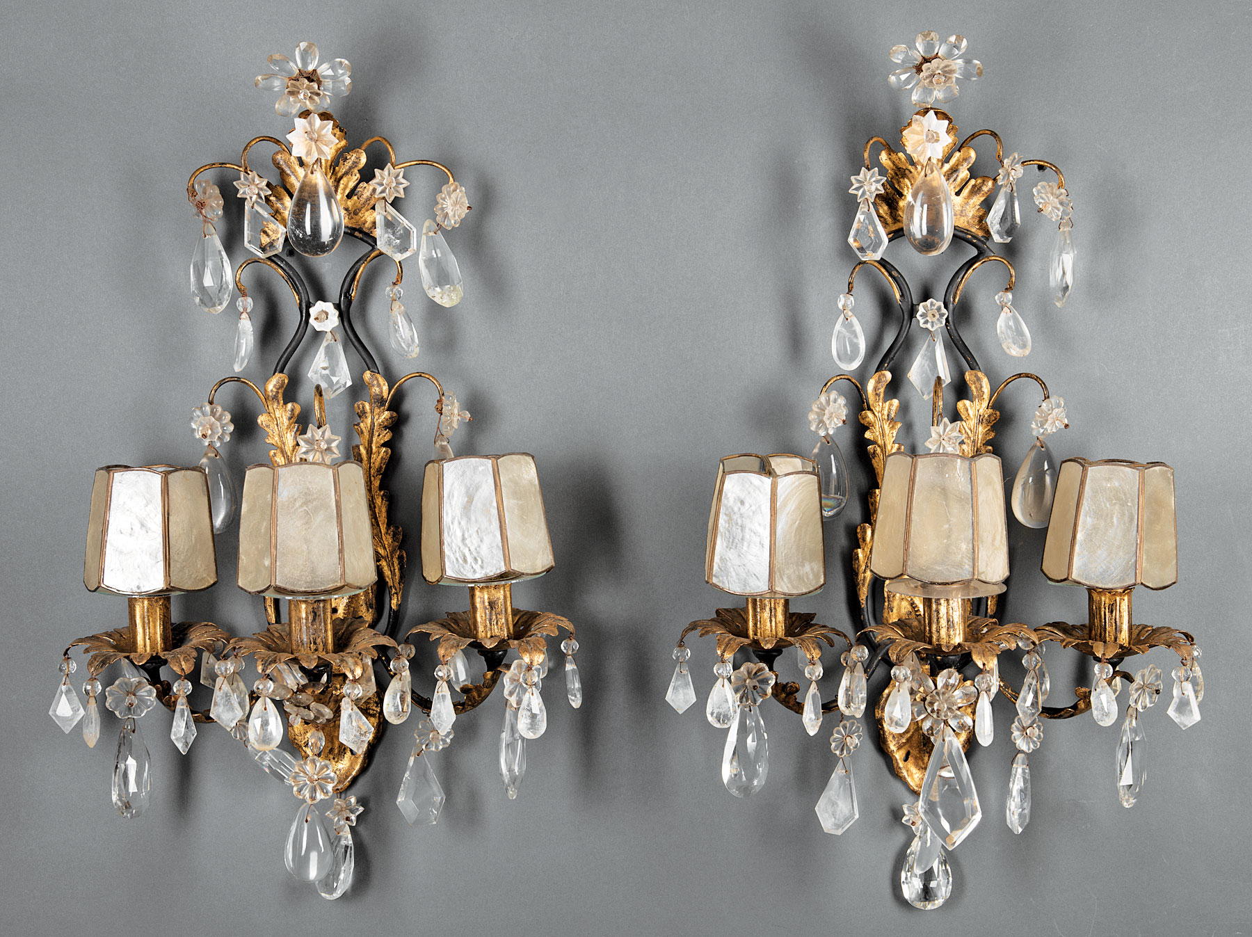 Lot 846 - Pair of Beaux Arts Gilt Metal, Cut Glass and Rock Crystal Three-Light Sconces , c. 1900, scroll