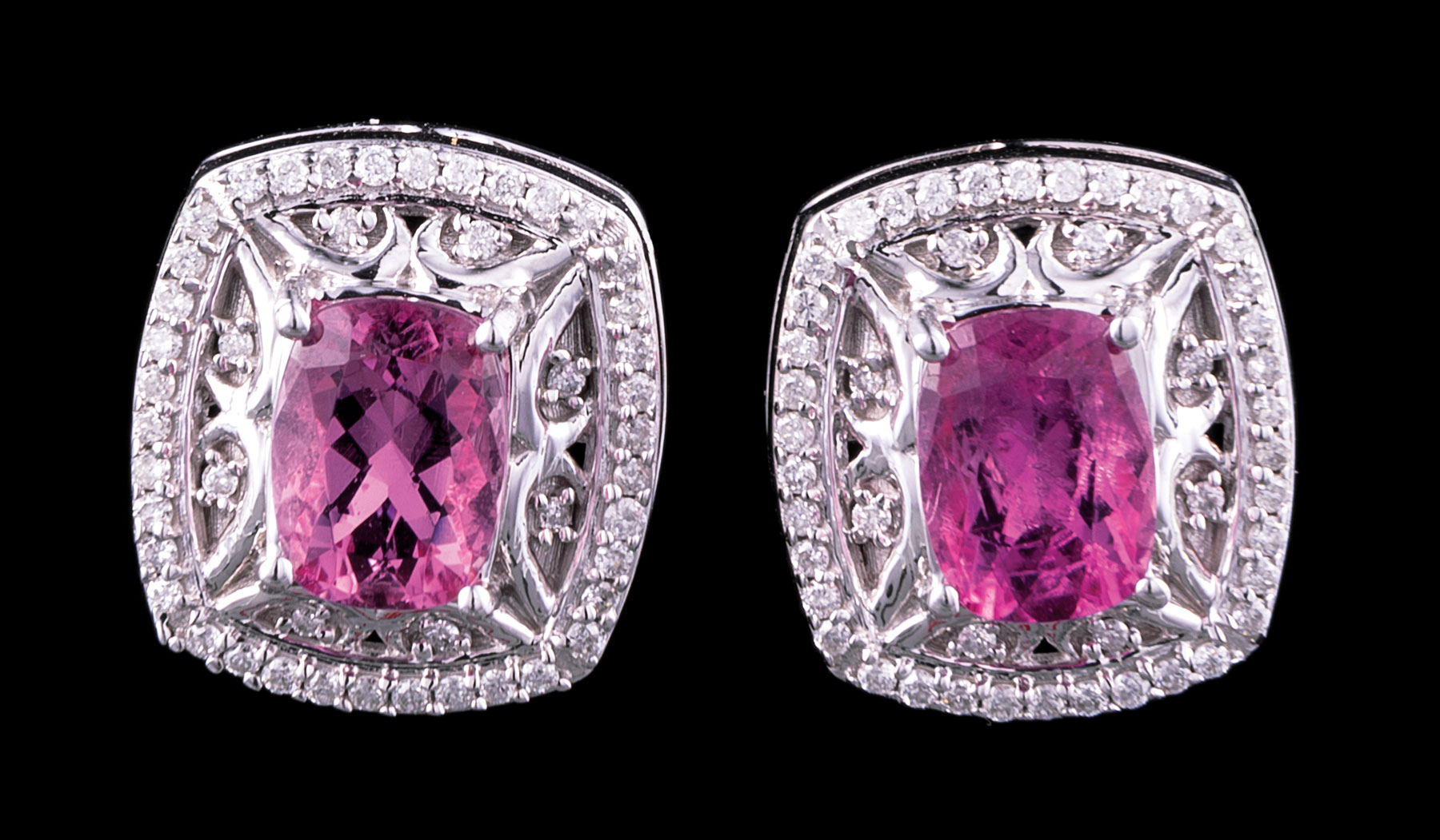 Lot 610 - Pair of 14 kt. White Gold, Pink Tourmaline and Diamond Earrings , central rectangular faceted