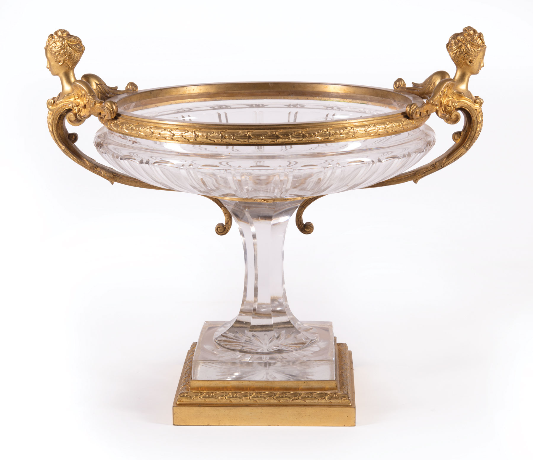 Lot 209 - French Gilt Bronze-Mounted Cut Crystal Center Bowl , late 19th c., probably Baccarat, winged figural