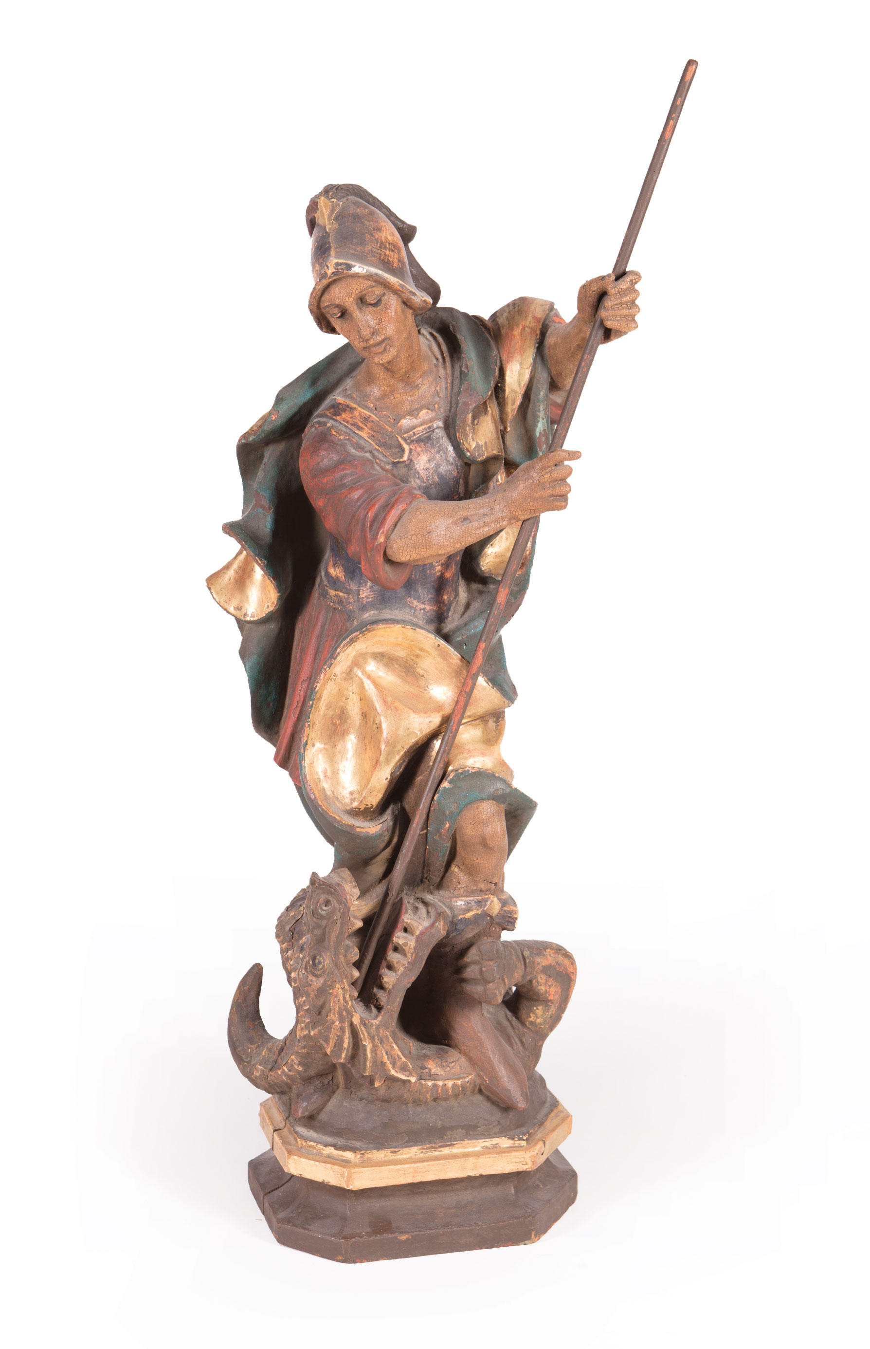 """Lot 377 - Continental Carved and Polychromed Wood Figure of St. George Slaying the Dragon , """"Tiroler/"""