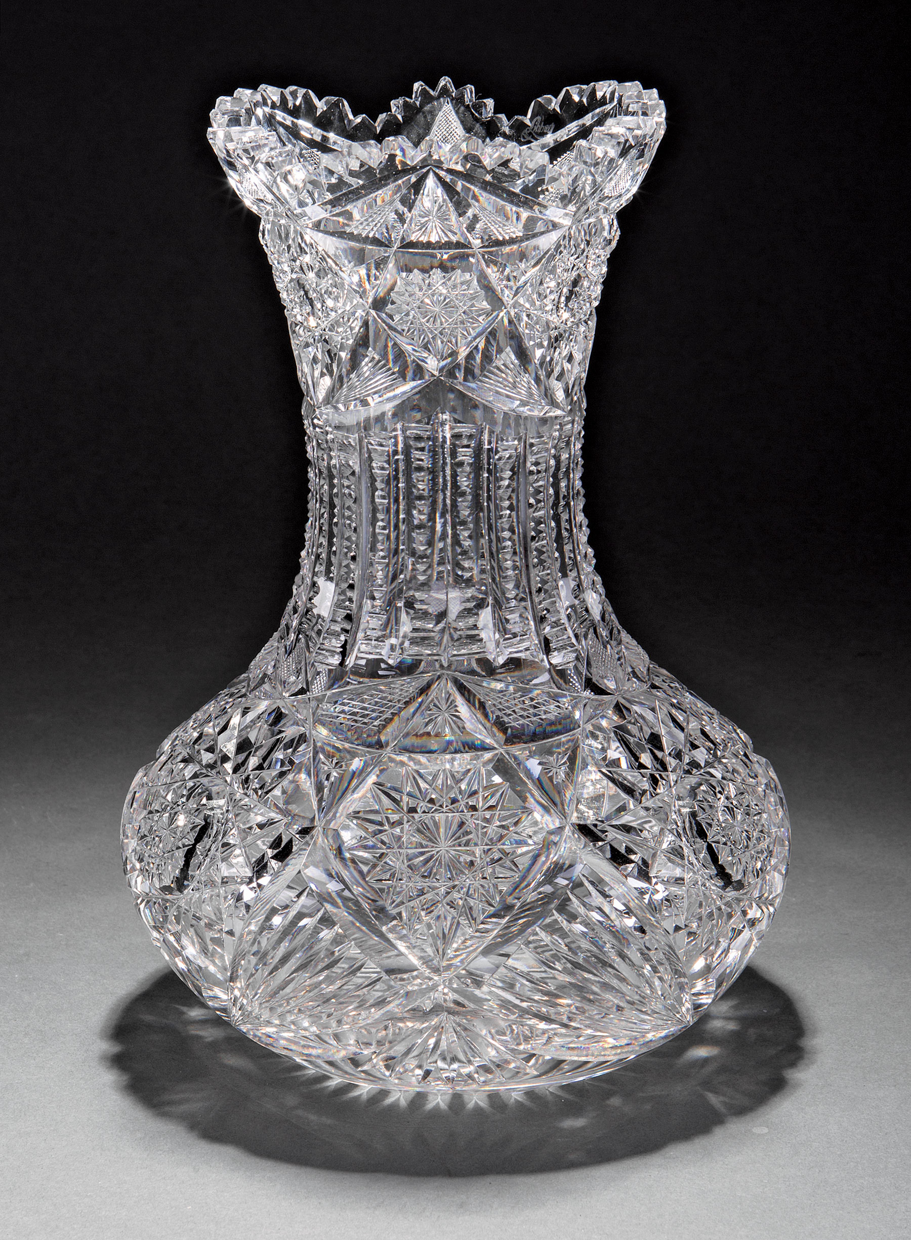 Lot 763 - Large and Rare Libbey American Brilliant Cut Glass Vase , marked, h. 10 1/4 in., dia. 7 1/2 in .