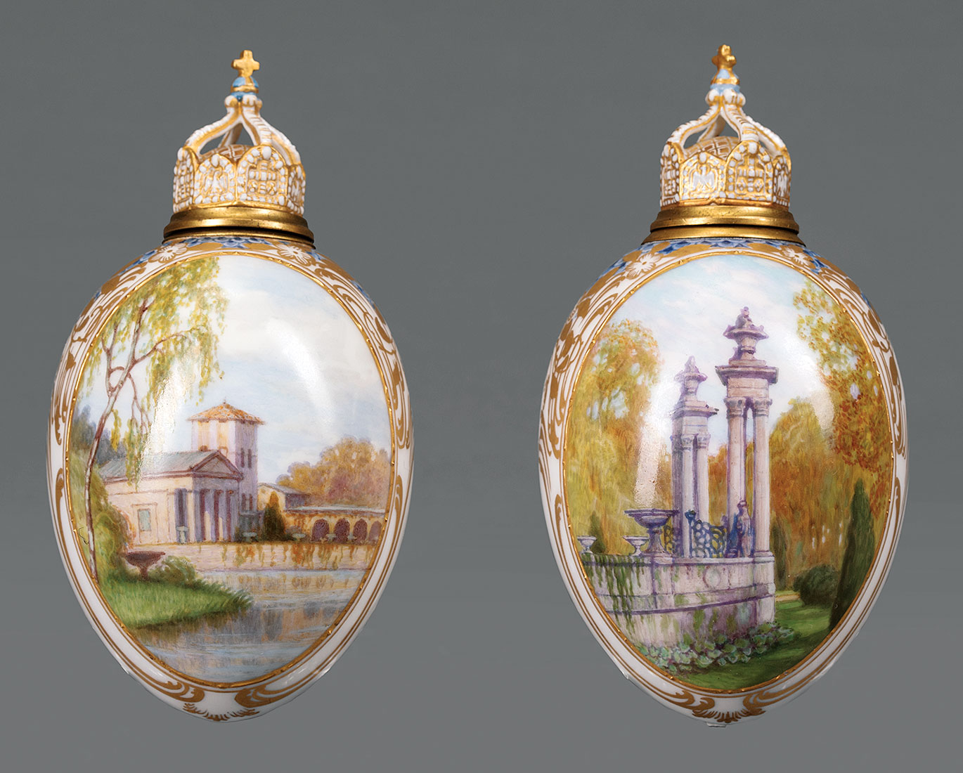 Lot 484 - Pair of Continental Polychrome and Gilt Porcelain Egg-Form Vessels with Stoppers , 19th c., possibly