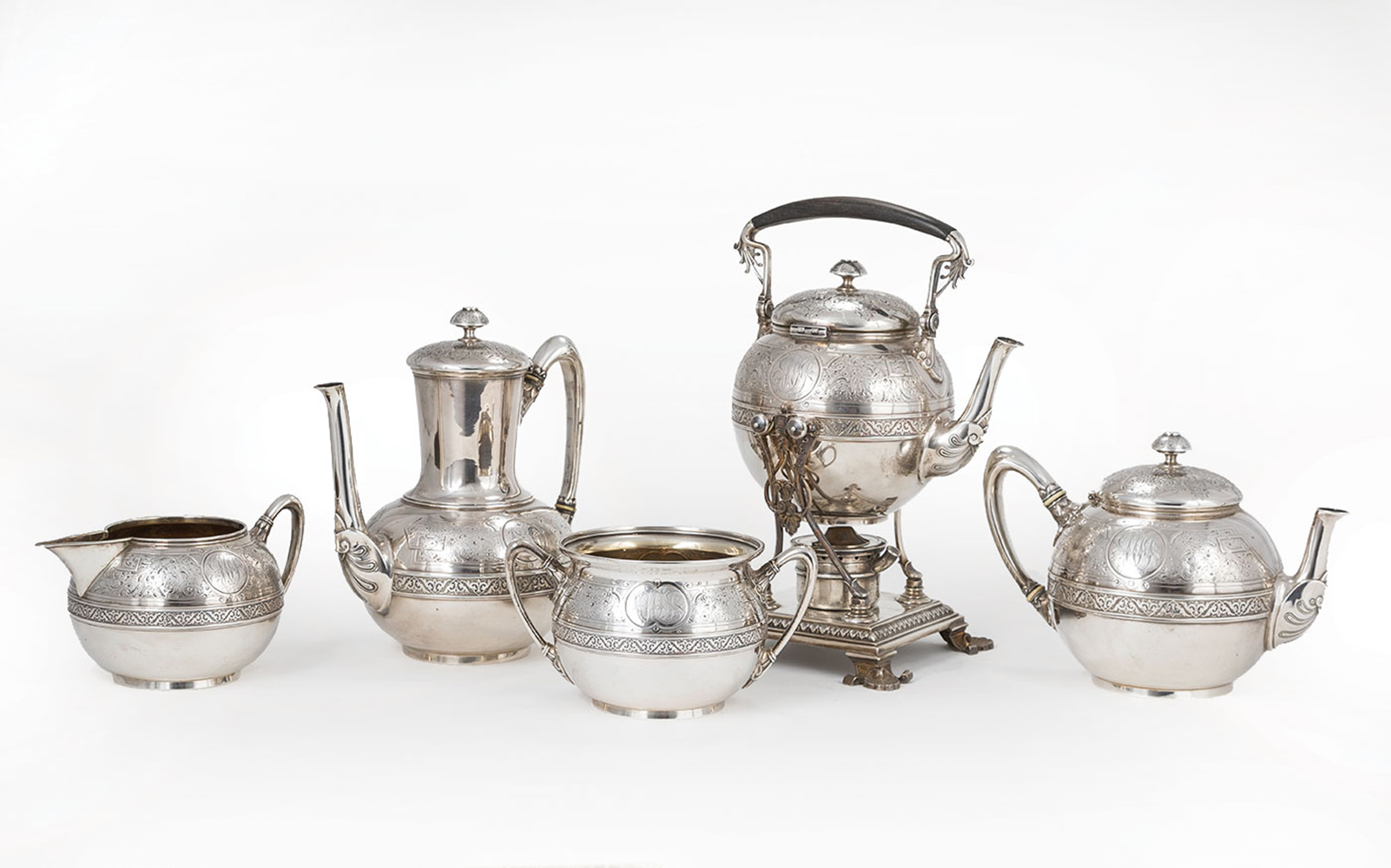 Lot 131 - American Neo-Grec Sterling Silver Tea and Coffee Service , Starr & Marcus, New York, act. 1864-1877,