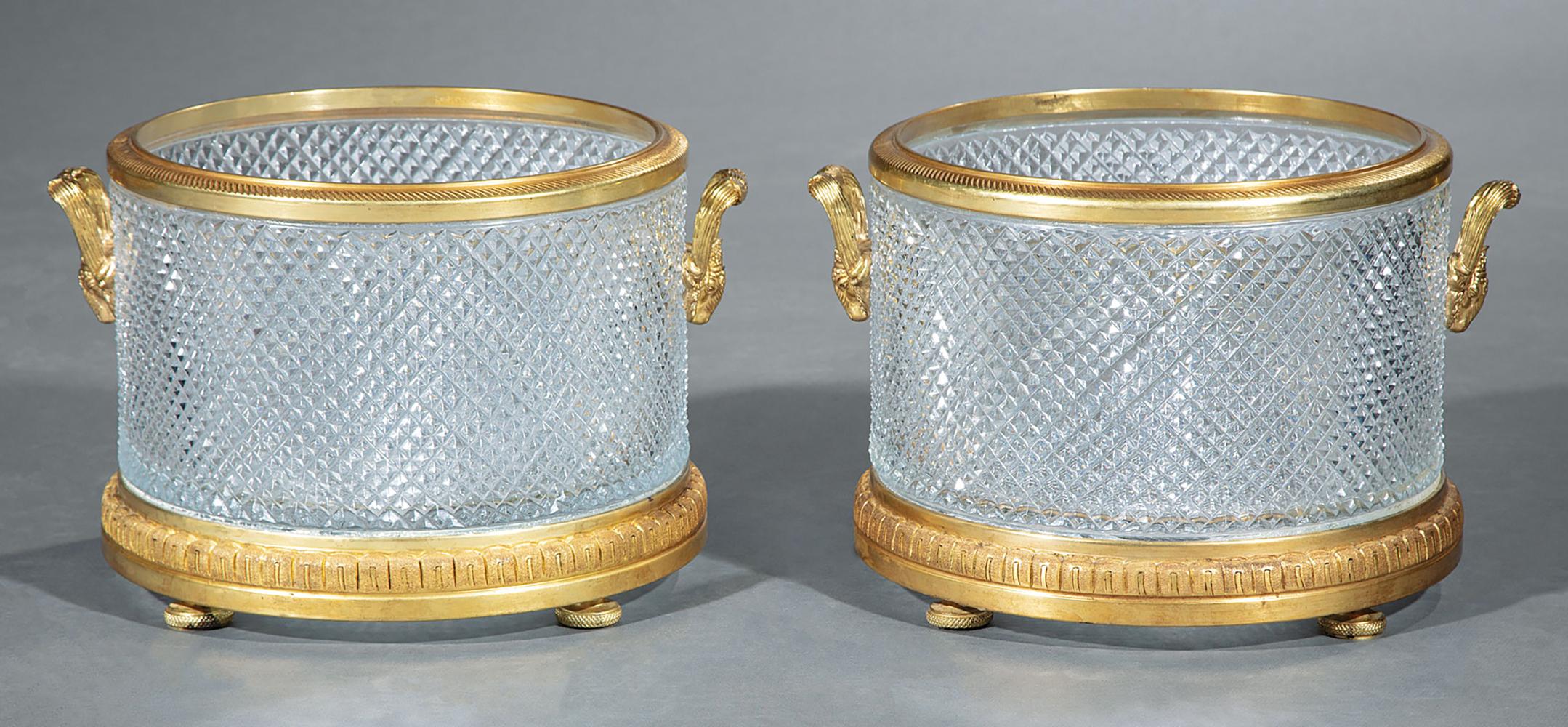 Lot 29 - Pair of Bronze-Mounted Baccarat-Style Diamond Point Cut Crystal Jardinieres , ram's head handles, h.