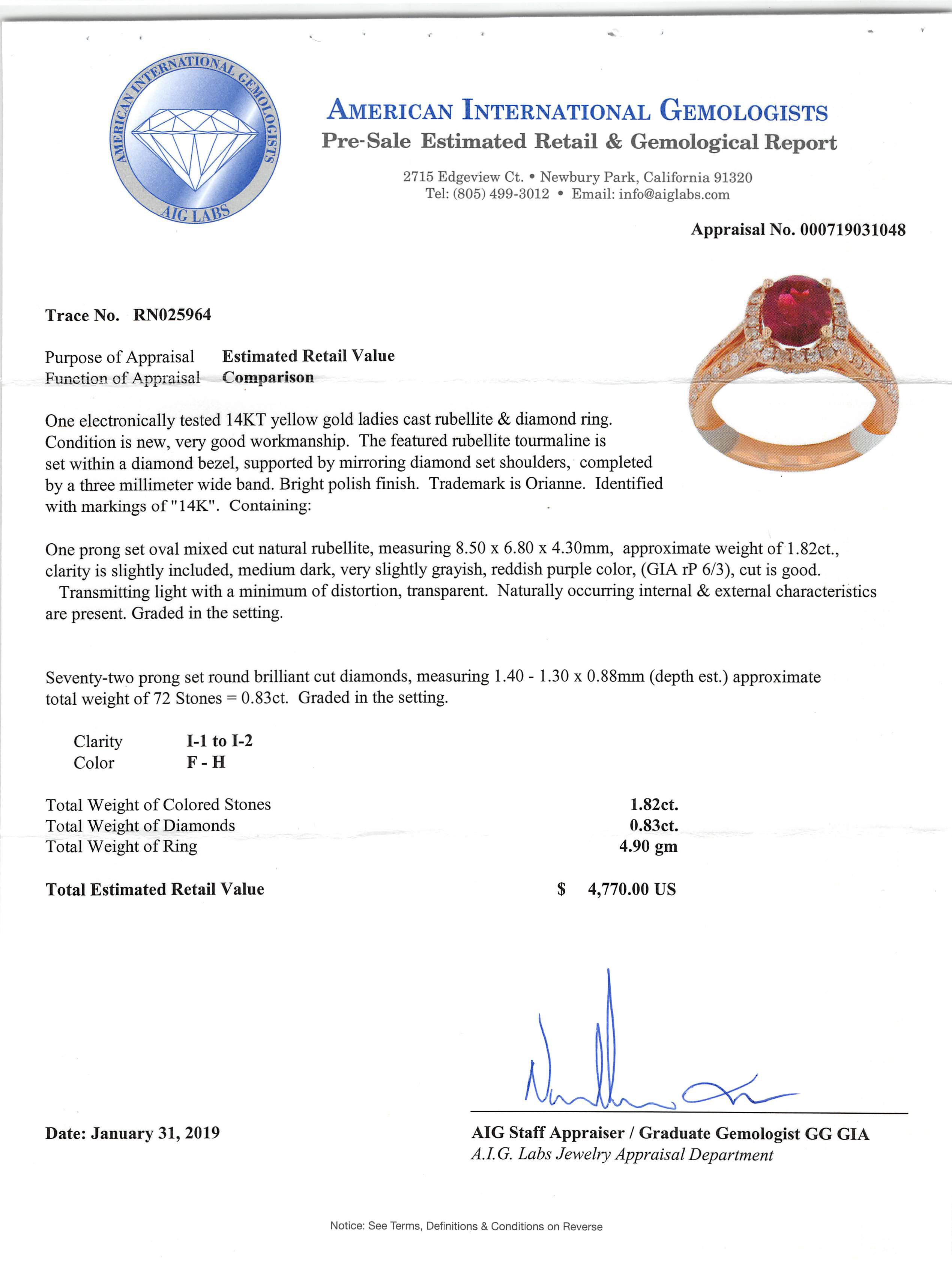 14 kt. Yellow Gold, Rubellite and Diamond Ring , prong set oval mixed cut rubellite, 8.50 x 6.80 x - Image 3 of 3