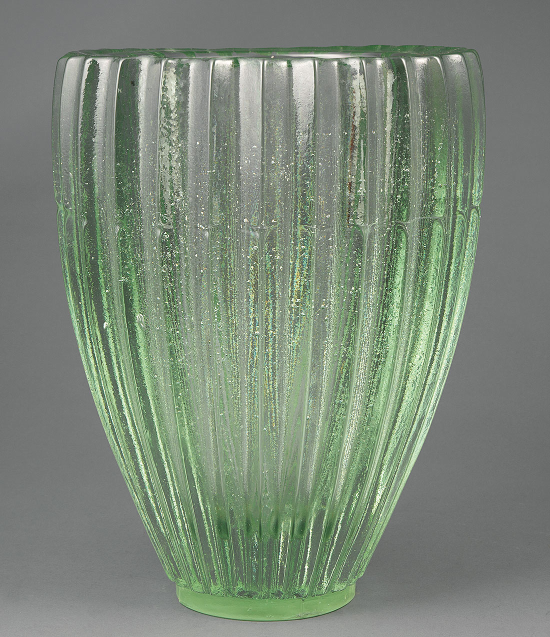 Lot 991 - Large Studio Molded Glass Vase , ovoid body with thick fluted walls, h. 14 7/8 in., dia. 10 3/4 in .