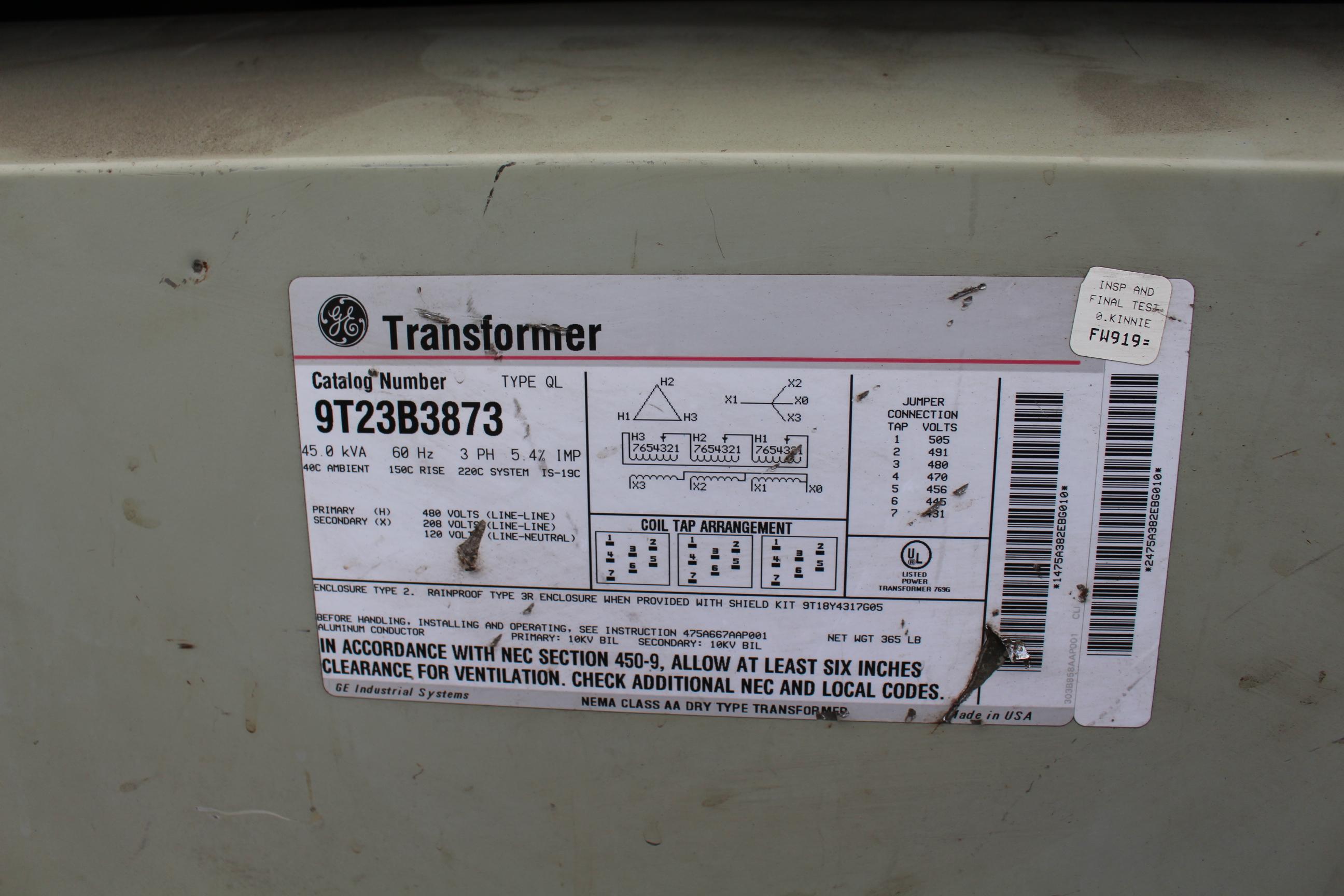 Lot 63 - GE TRANSFORMER, 45 KVA