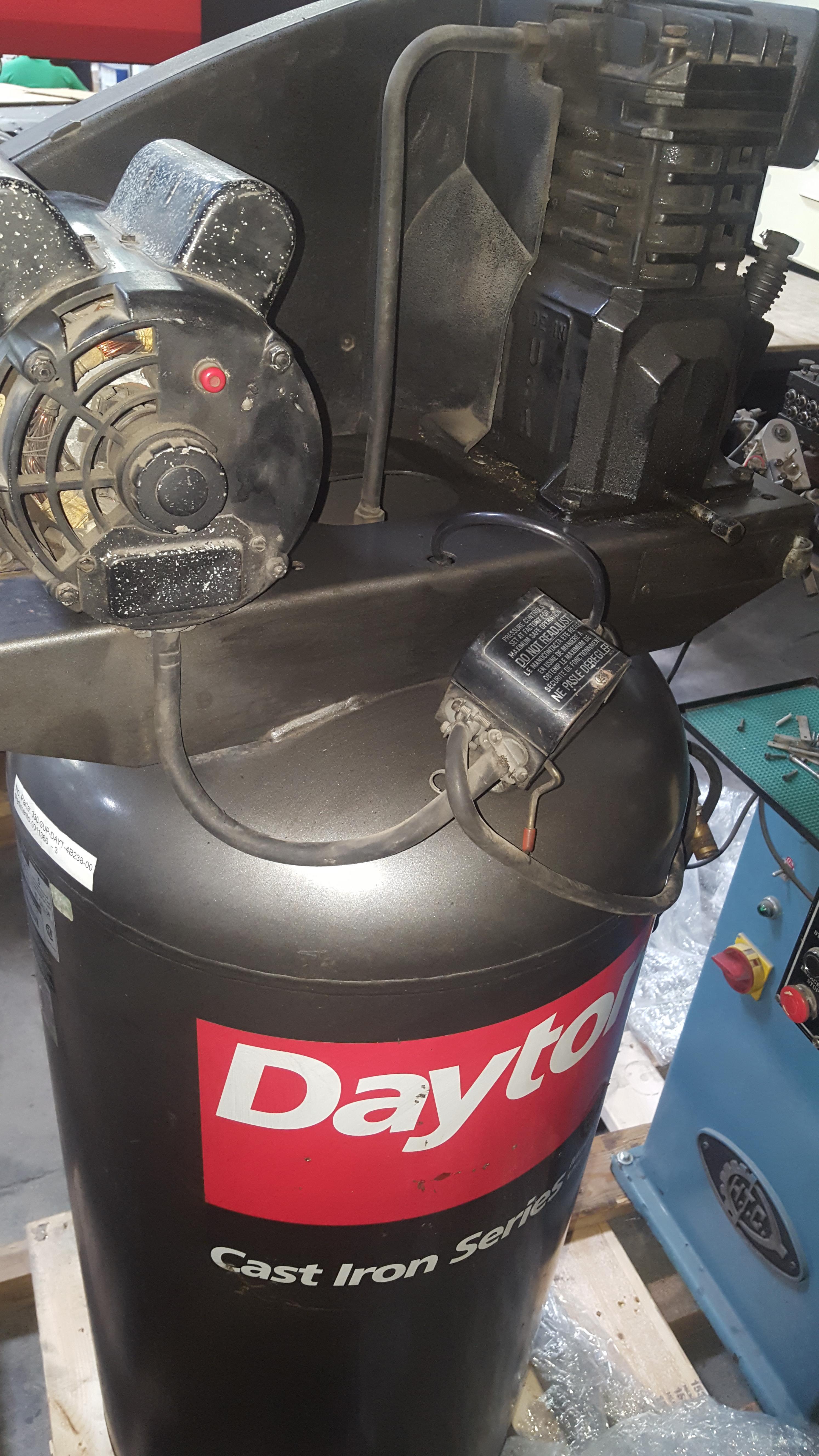 """Lot 96 - DAYTON CAST IRON SERIES AIR COMPRESSOR, MODEL 4B238, 220V, 350 LBS, 2'3"""" X 2'3"""" X 5'6"""", S/N L6/7/96-"""