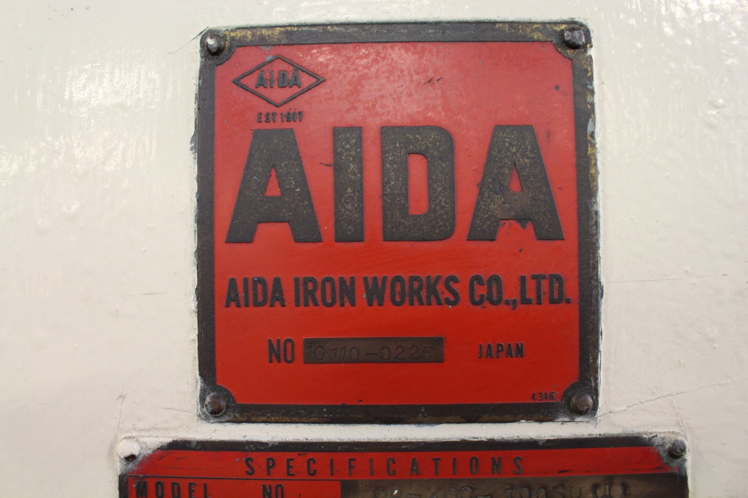 "AIDA MODEL PP-XG0-100SU (II) PUNCH PRESS, 100-TON CAPACITY, 6.6"" STROKE, 50 SPM, 41.7"" X 22"" - Image 8 of 9"