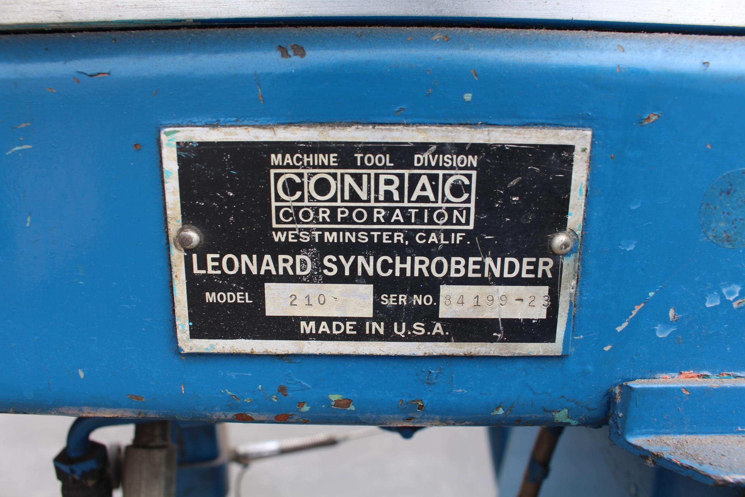 """Lot 14 - CONRAC LEONARD SYNCHROBENDER MODEL 210 TUBE BENDER, 2"""" OD, 10' TUBE LENGTH, S/N 84199-23"""