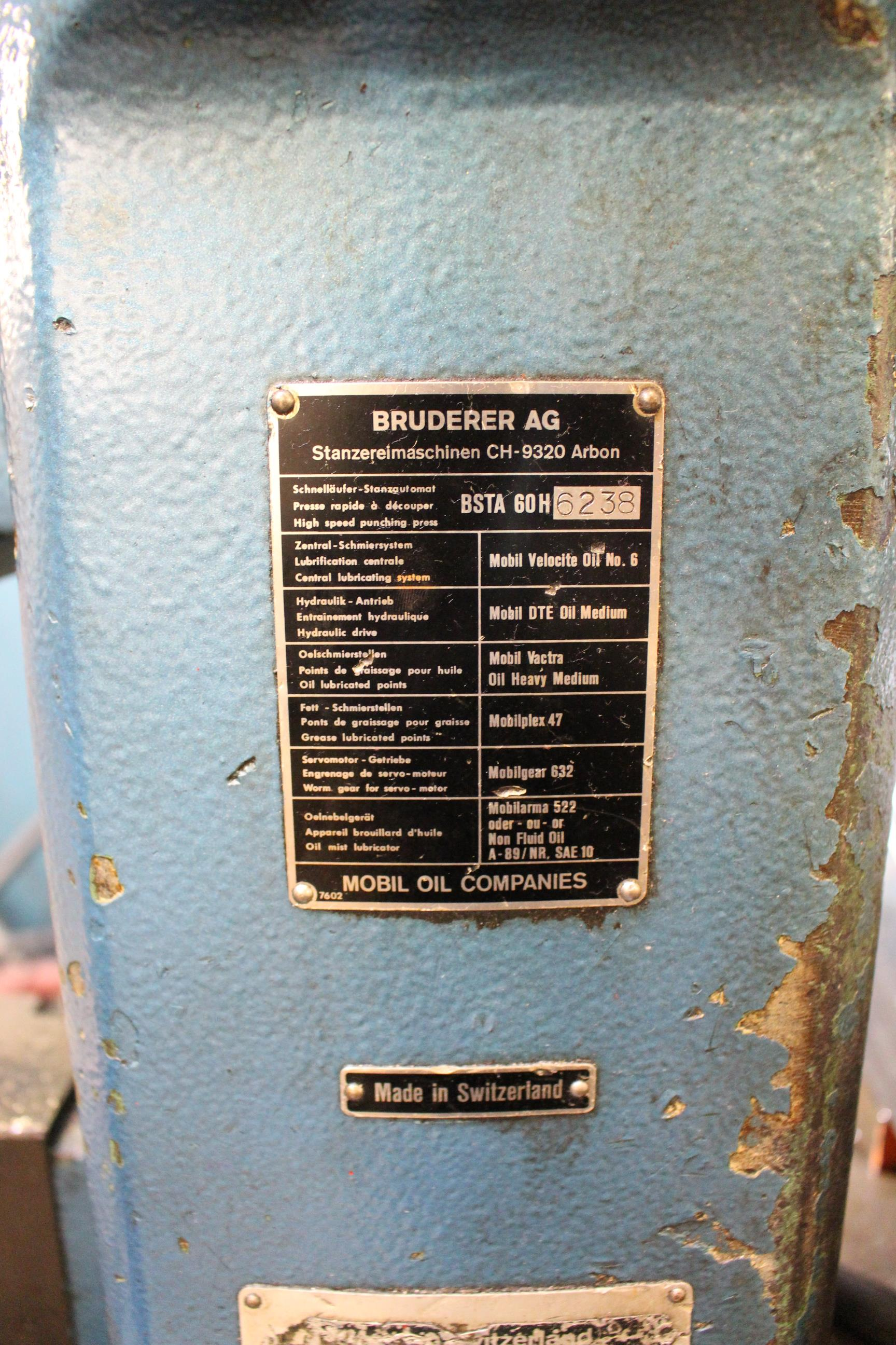 BRUDERER MODEL BSTA-60H HIGH SPEED STAMPING PRESS, 60-TON, DIE PRO 1500 WINTRISS DIE PROTECTION, 4 - Image 20 of 20
