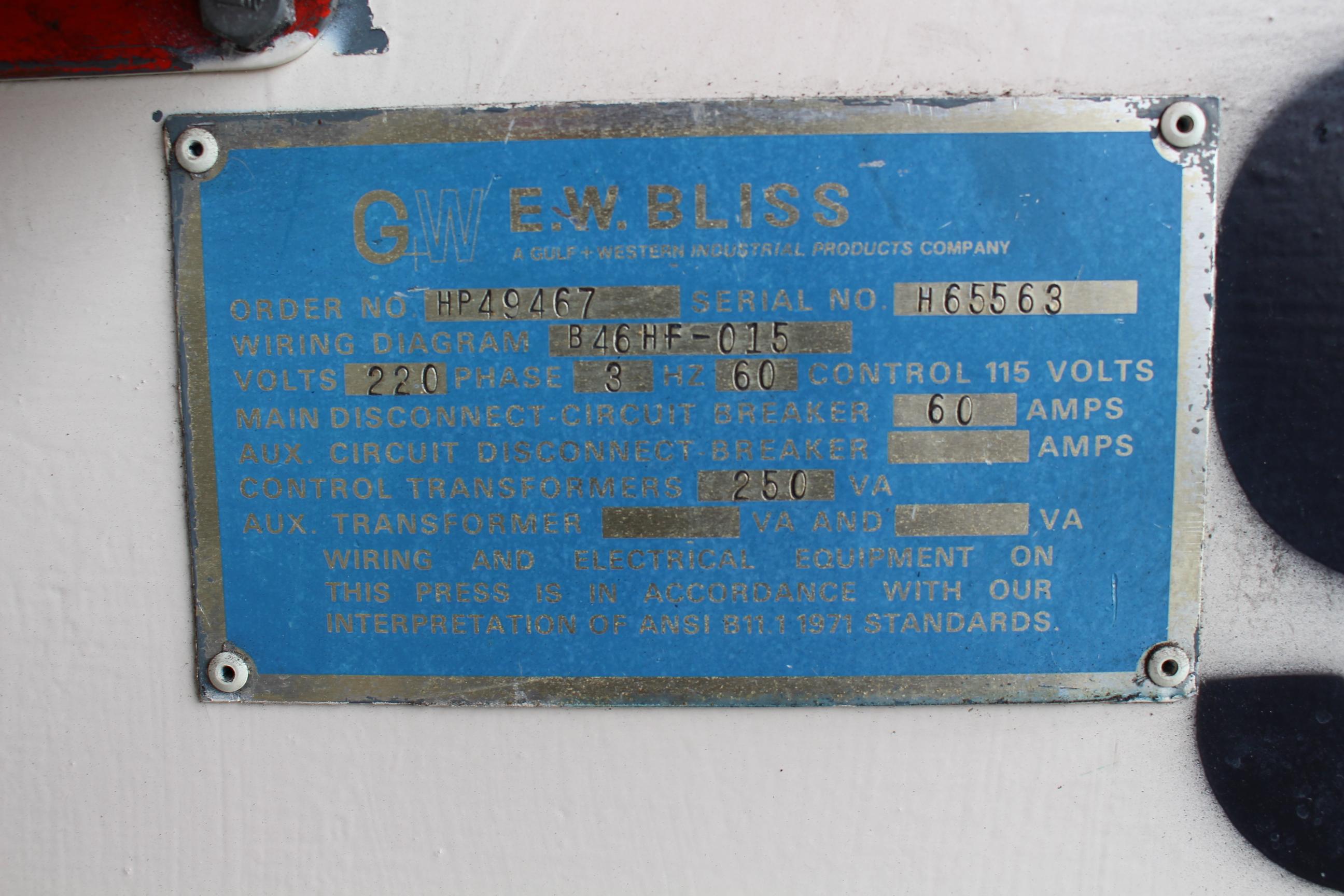 Lot 13 - BLISS MODEL C-35 OBI PUNCH PRESS, 35 TON CAPACITY, AIR CLUTCH, S/N H65563, PRESS #97