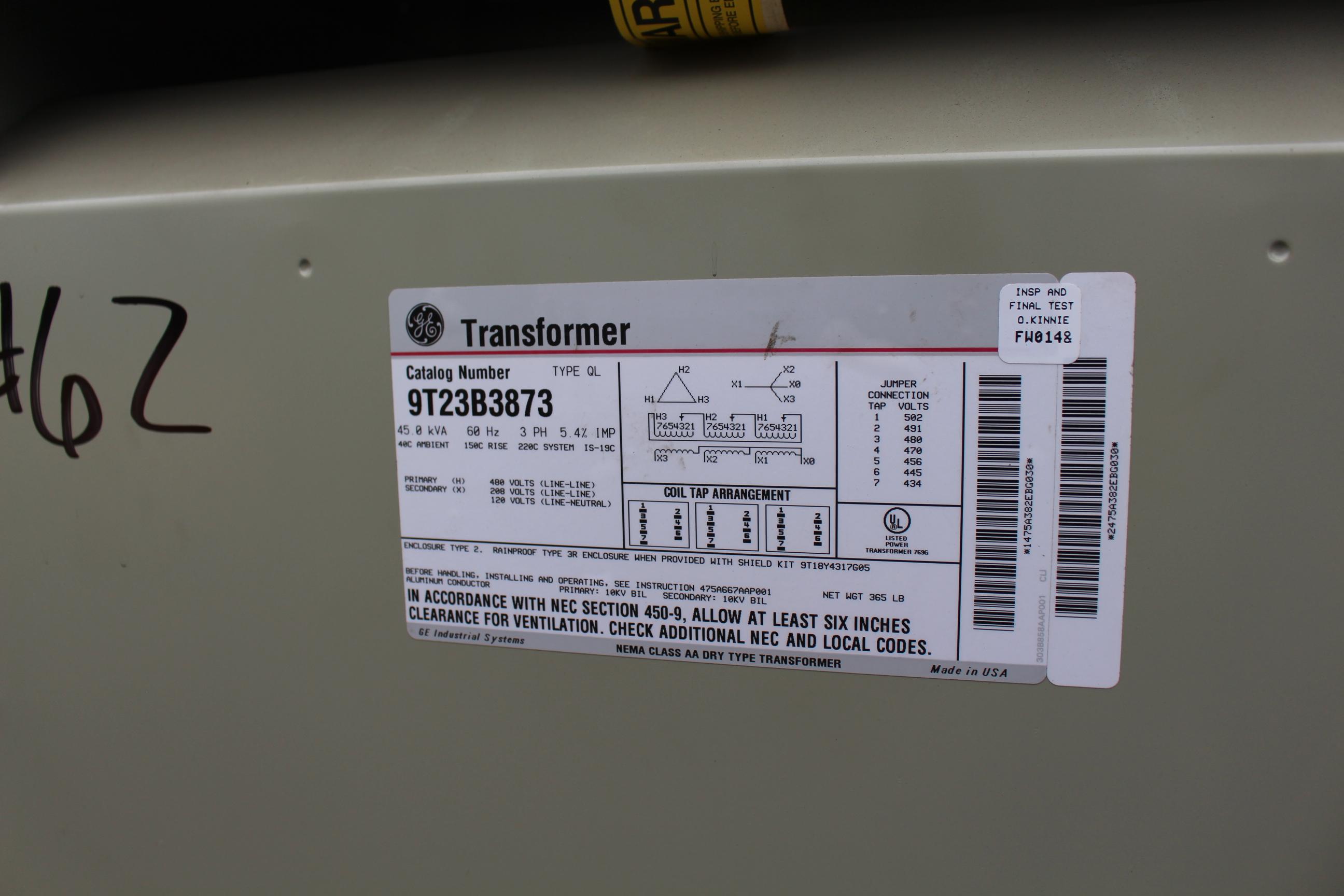 GE TRANSFORMER, 45 KVA - Image 2 of 2