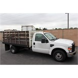 2008 FORD F350 XL SUPER DUTY STAKE BED TRUCK, 12' ROYAL BED BODY, 5.4L EFI V8 GASOLINE ENGINE,