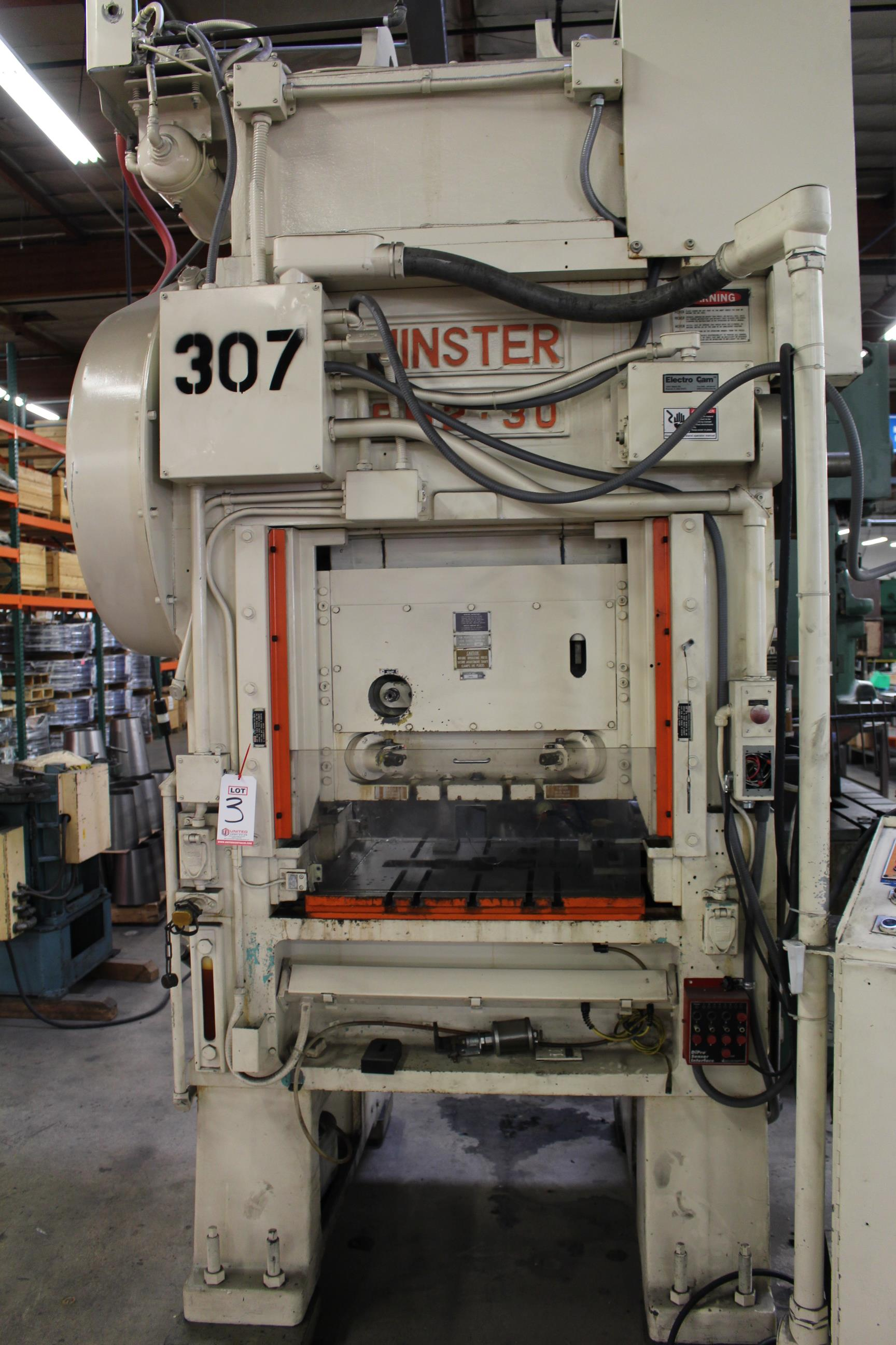 "MINSTER MODEL PM2-30-30 HIGH SPEED PUNCH PRESS, 30 TON CAPACITY, 30"" X 20"" BOLSTER, 0-1,000 SPM, 1- - Image 3 of 18"
