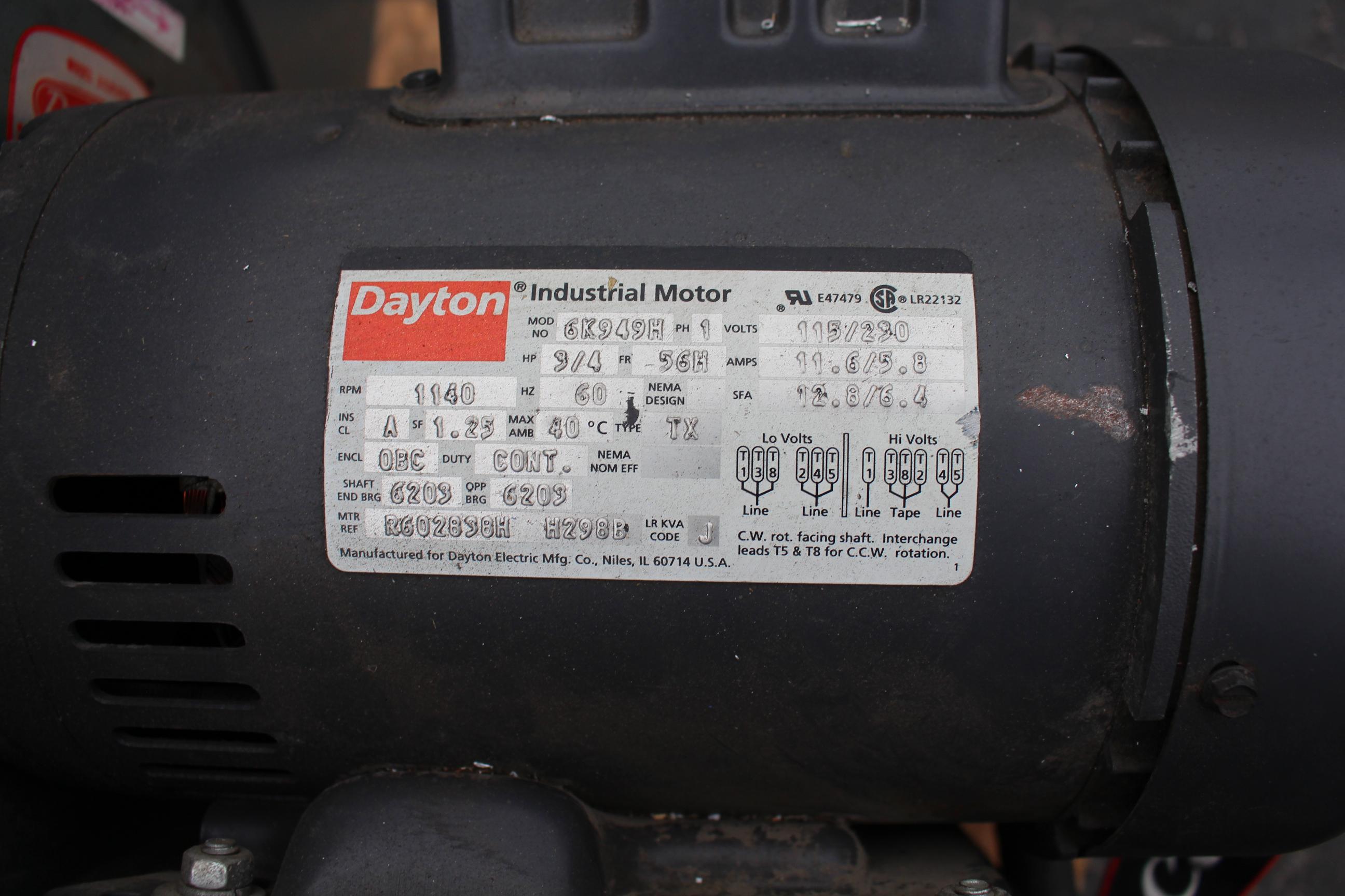 DAYTON 3/4 HP BLOWER - Image 2 of 2