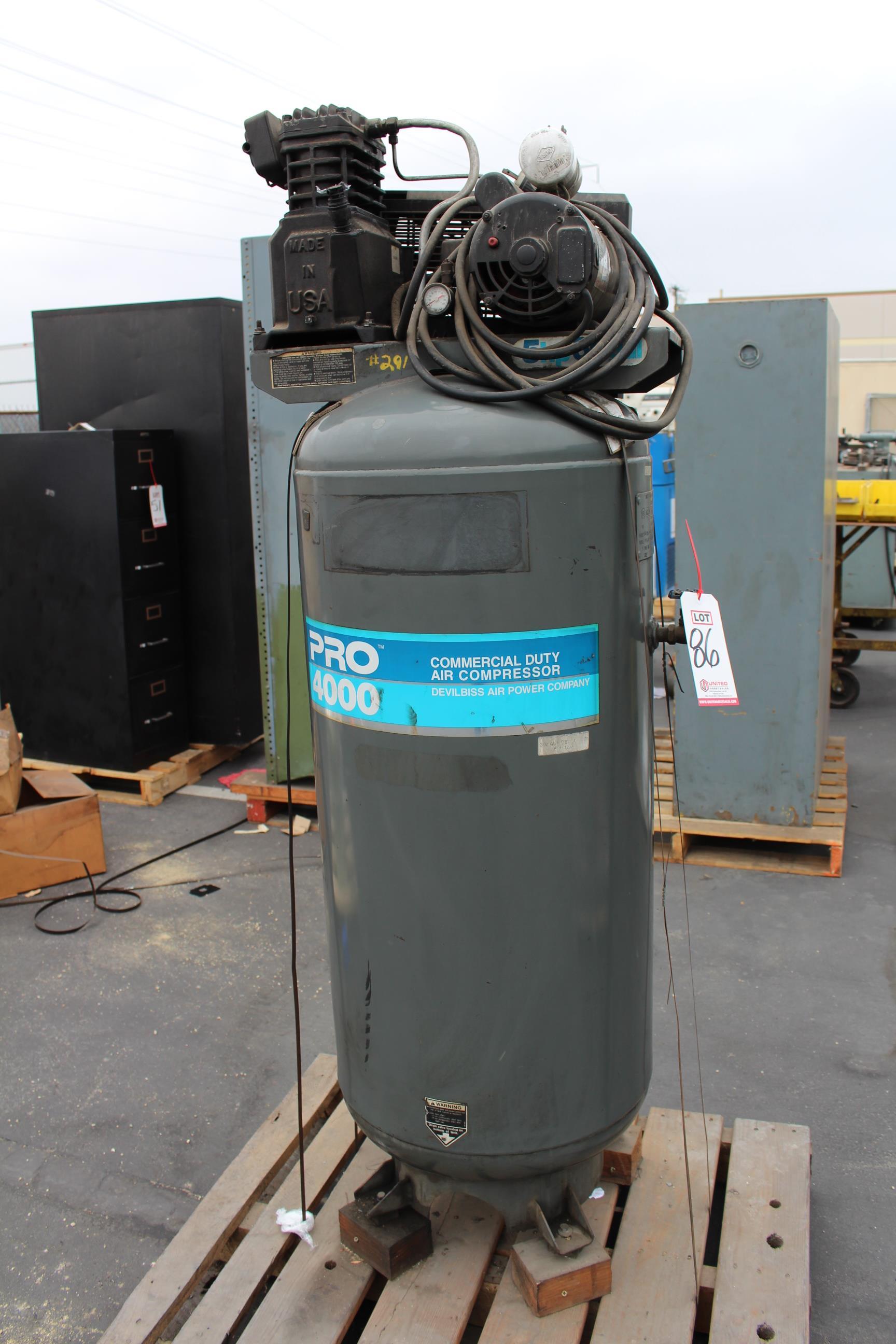 Lot 86 - DEVILBLISS PRO 4000 5HP VERTICAL AIR COMPRESSOR