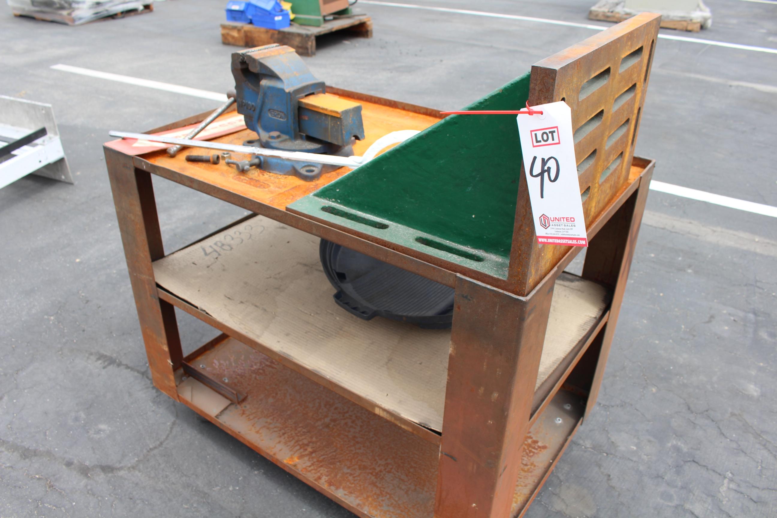 Lot 40 - METAL CART W/ VISE AND ANGLE PLATE