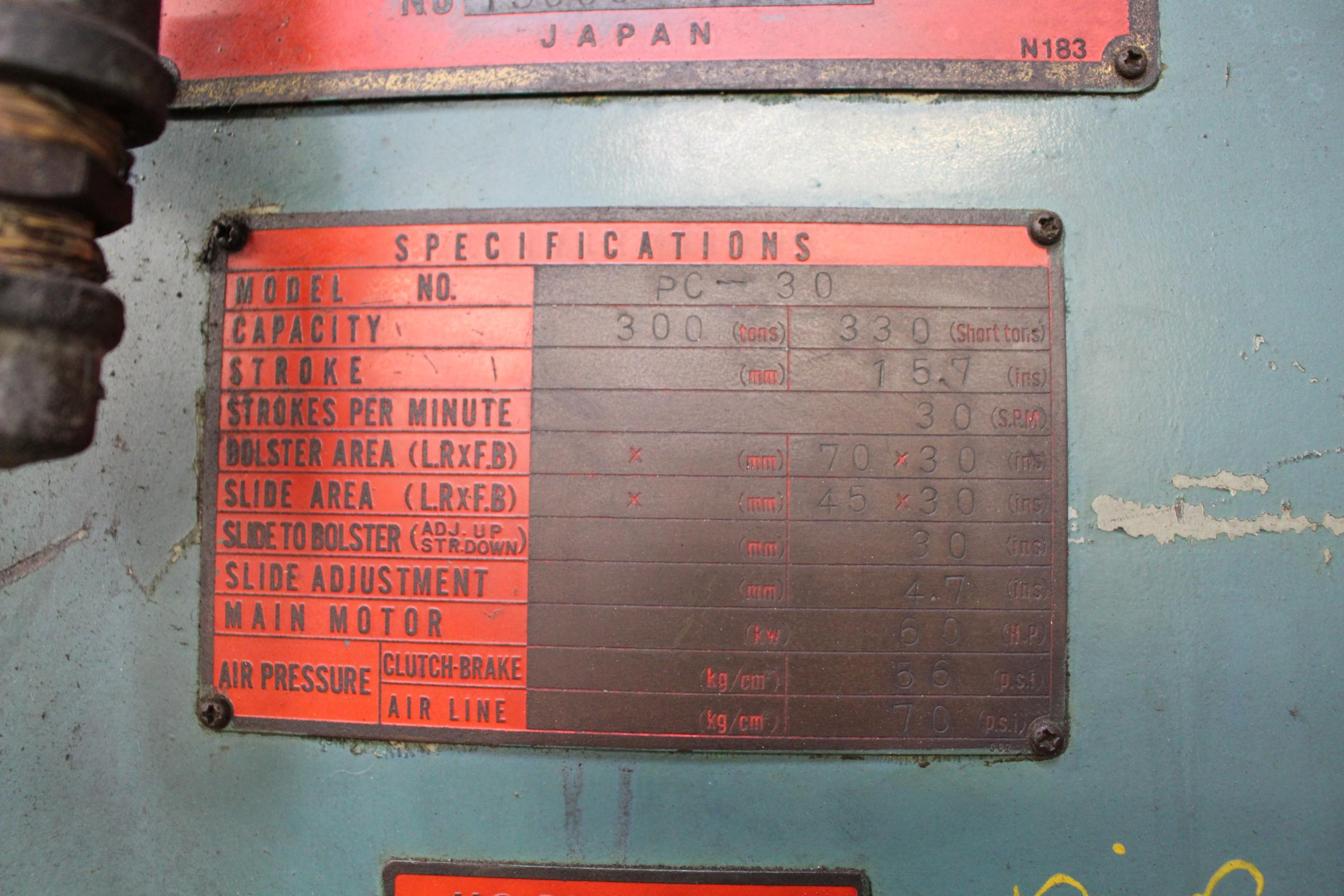 "AIDA MODEL PC-30 PUNCH PRESS, 300 TON CAPACITY,AIR CUSHION, 15.7"" STROKE, 30 SPM, 70"" X 30"" - Image 20 of 21"