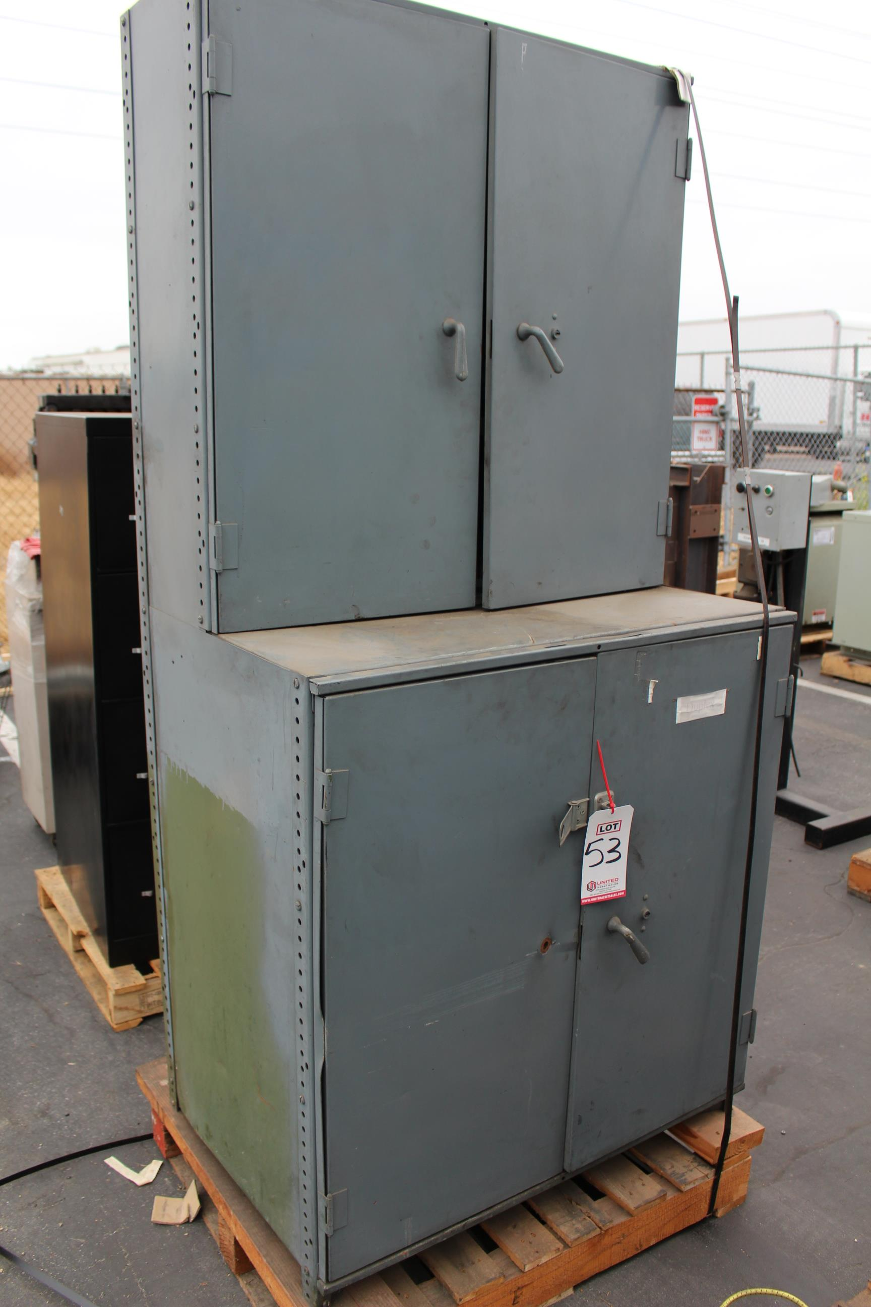 Lot 53 - METAL CABINET W/ CONTENTS