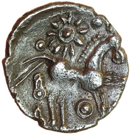 Dolphin Curls. c.50-30 BC. Celtic silver unit. 14mm. 1.15g.