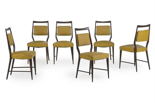 Sedie Imbottite Anni 50 : Six chairs by v dassi sei sedie anni legno vinilpelle