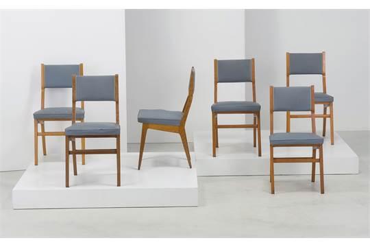 Sedie Imbottite Anni 50 : Six chairs by i s a sei sedie anni legno di rivere