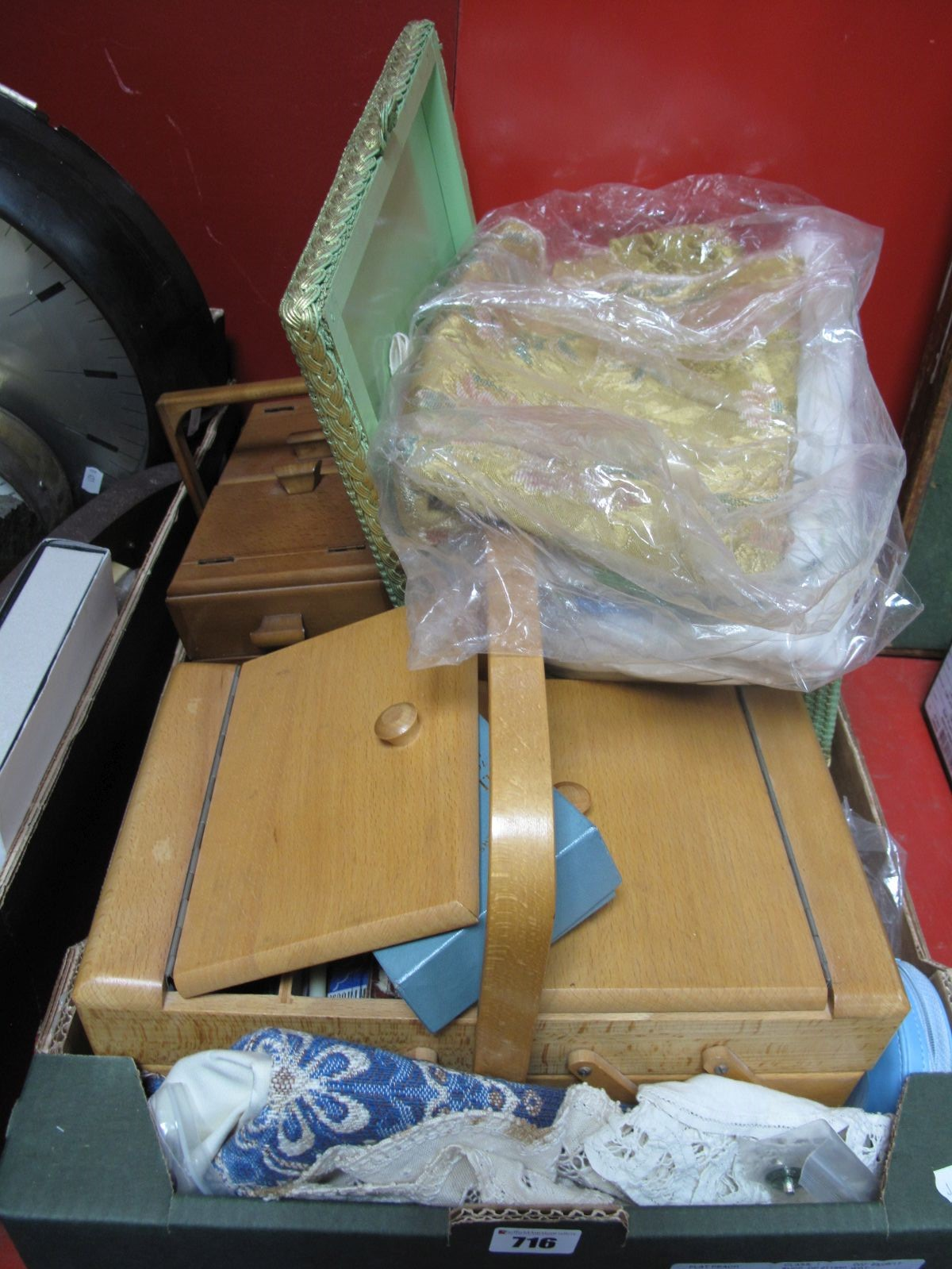 Lot 716 - Cottons, buttons, linens, work boxes, etc:- One Box