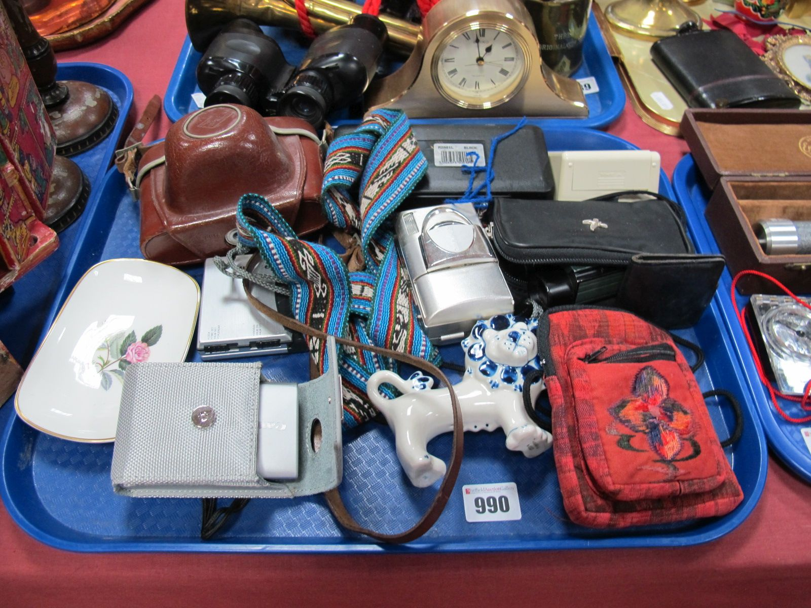 Lot 990 - Canon 5.0 40.0mm Olympus and Agfa Cameras, Swarovski, Binoculars, torch, USSR lion, etc:- One Tray