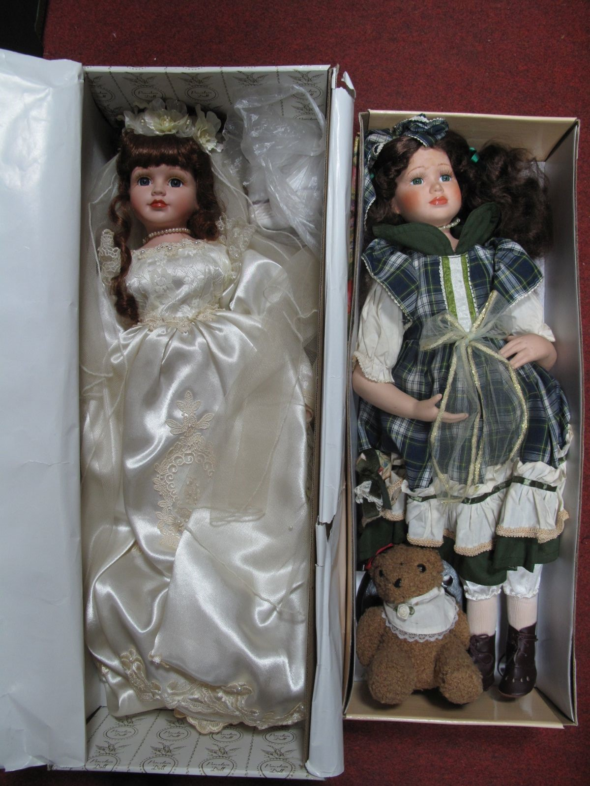 Lot 711 - Porcelain Doll ' Knightsbridge Collection' Helen, together with one other.