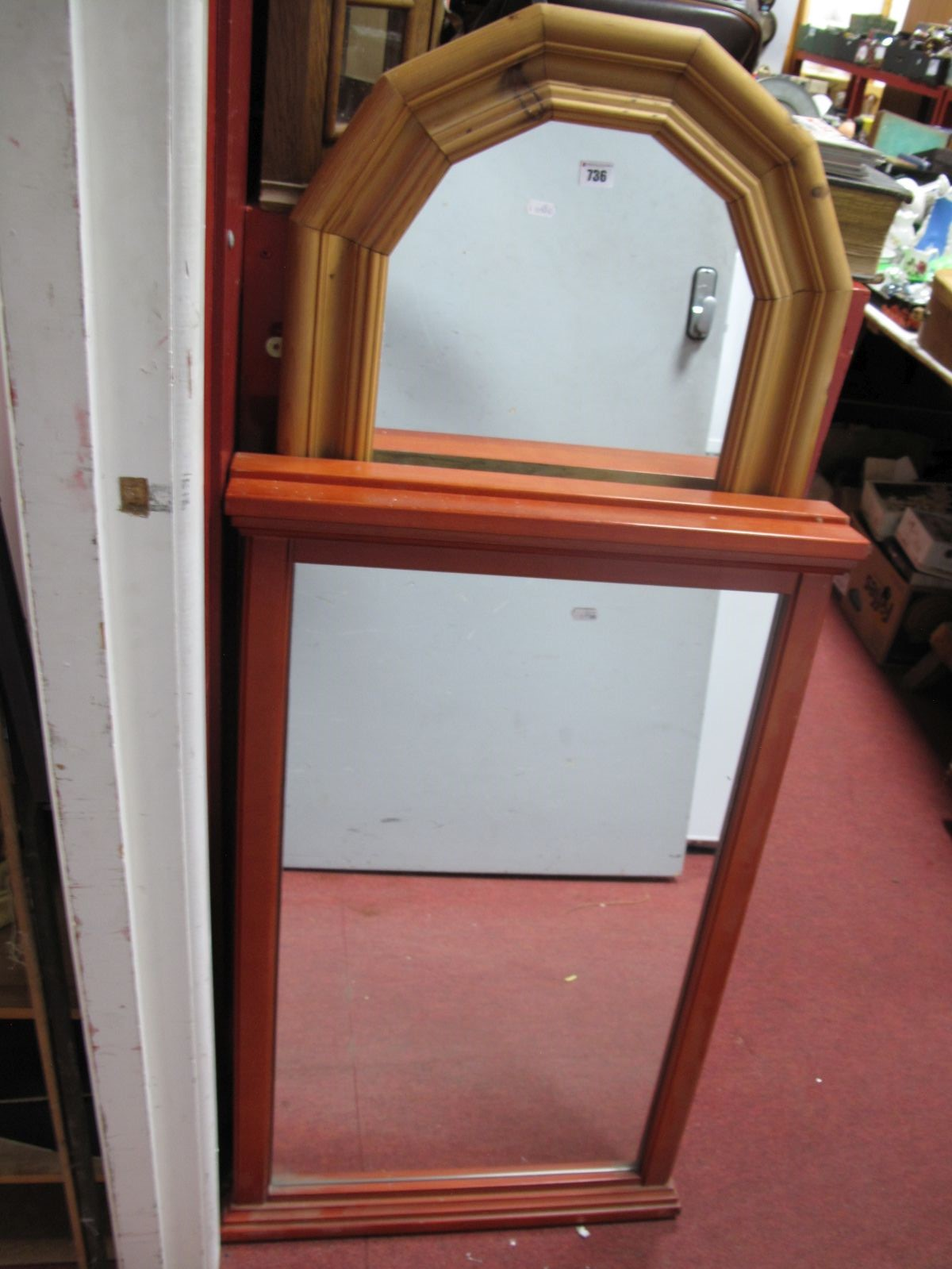 Lot 736 - A Pair of Rectangular Wall Mirrors, in teak effect frames, another in pine. (3)