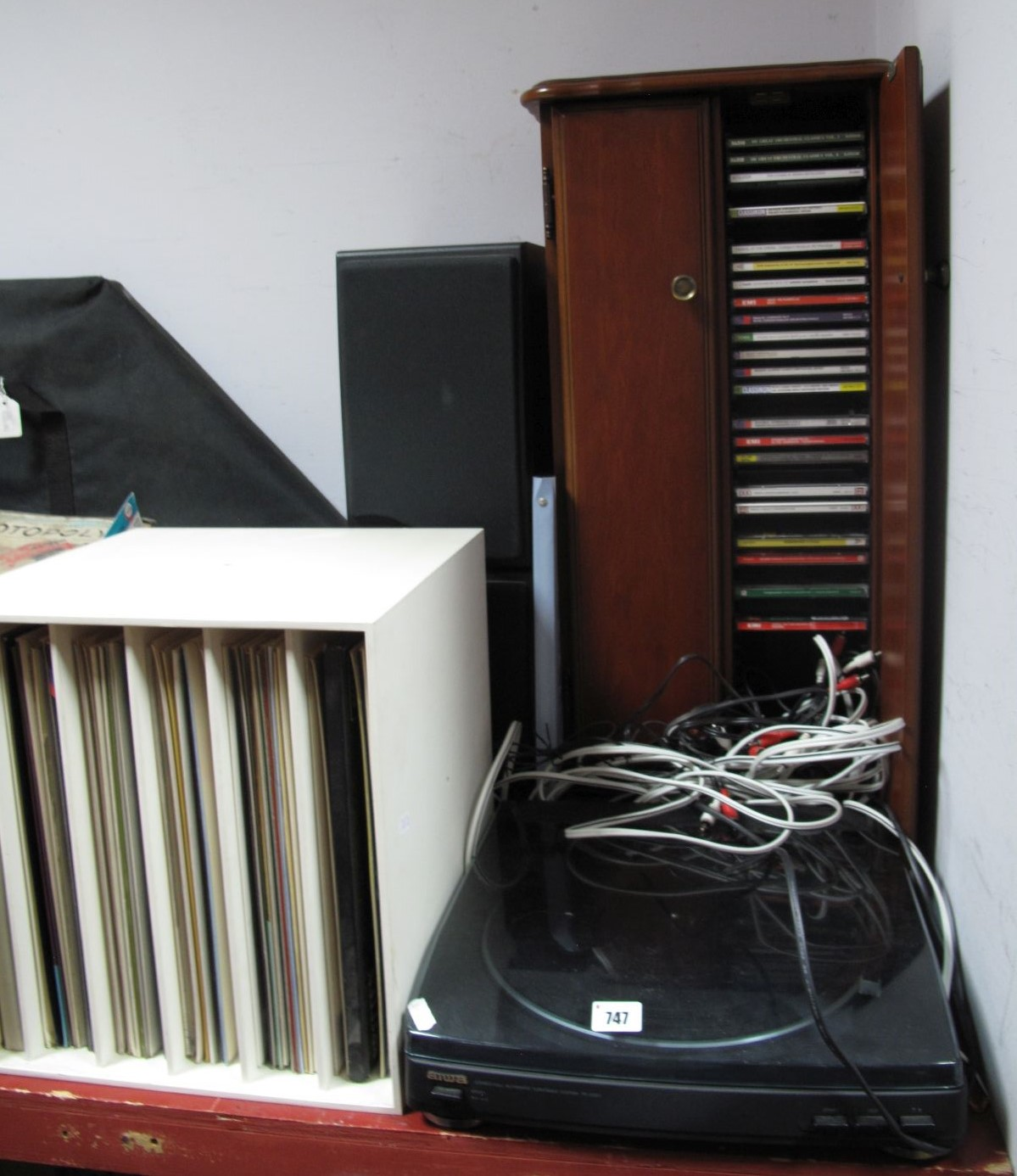 Lot 747 - A Quantity of CD's, in cabinet, Aiwa record player and many records.