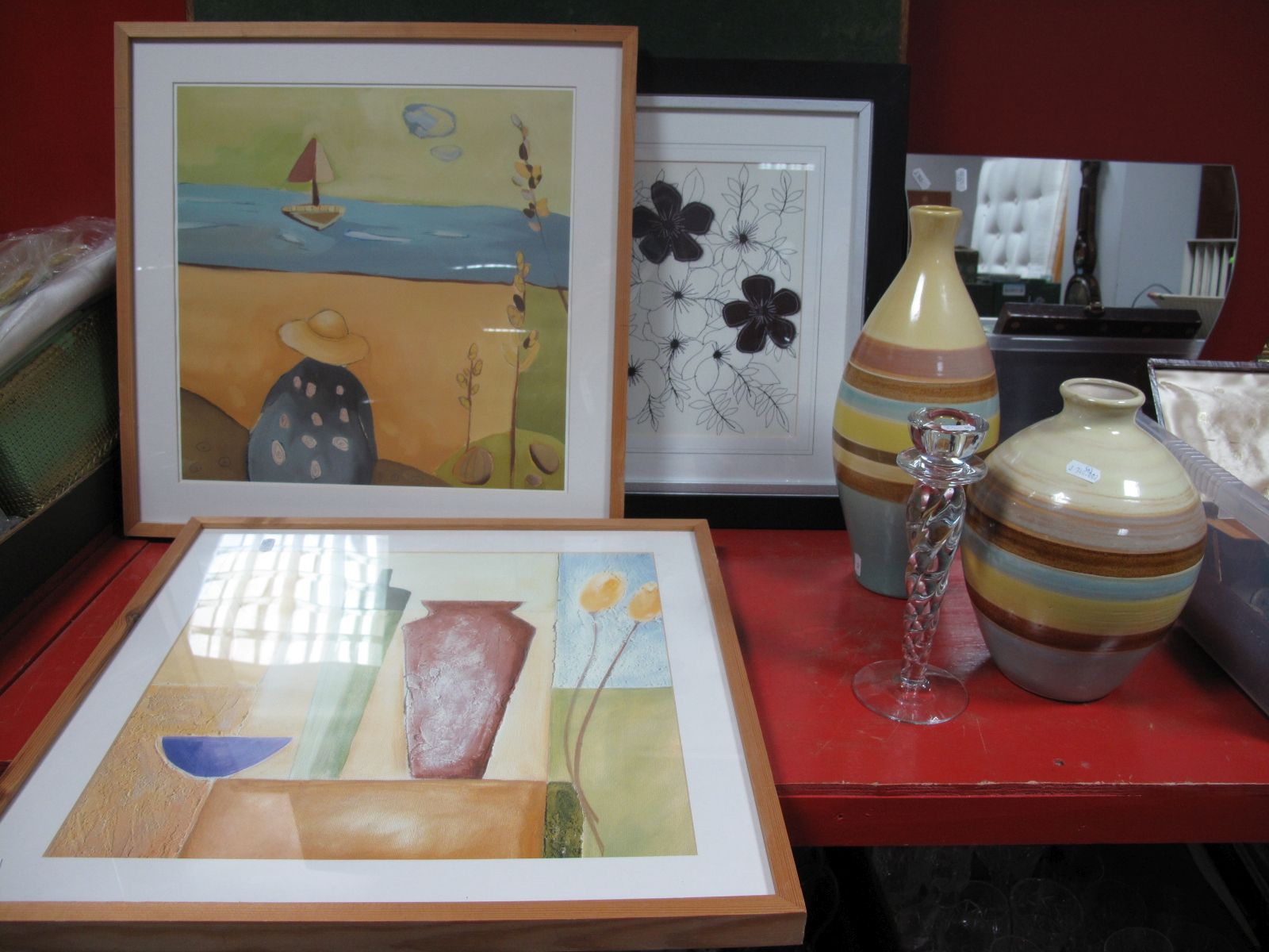 Lot 718 - A Vono Folding Card Table, four wave mirrors, two framed prints, two decorative vases, Kosta Boda